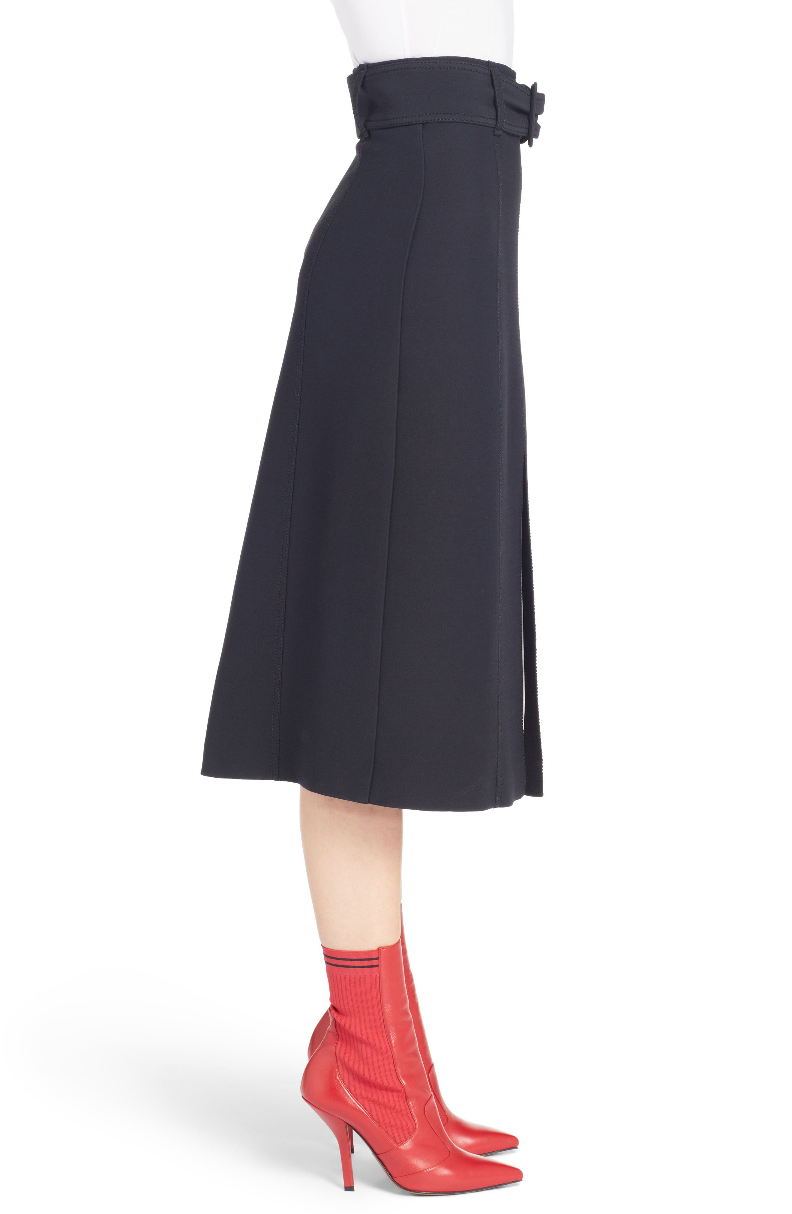 Wool & Silk Belted A-Line Skirt,                             Alternate thumbnail 3, color,                             001
