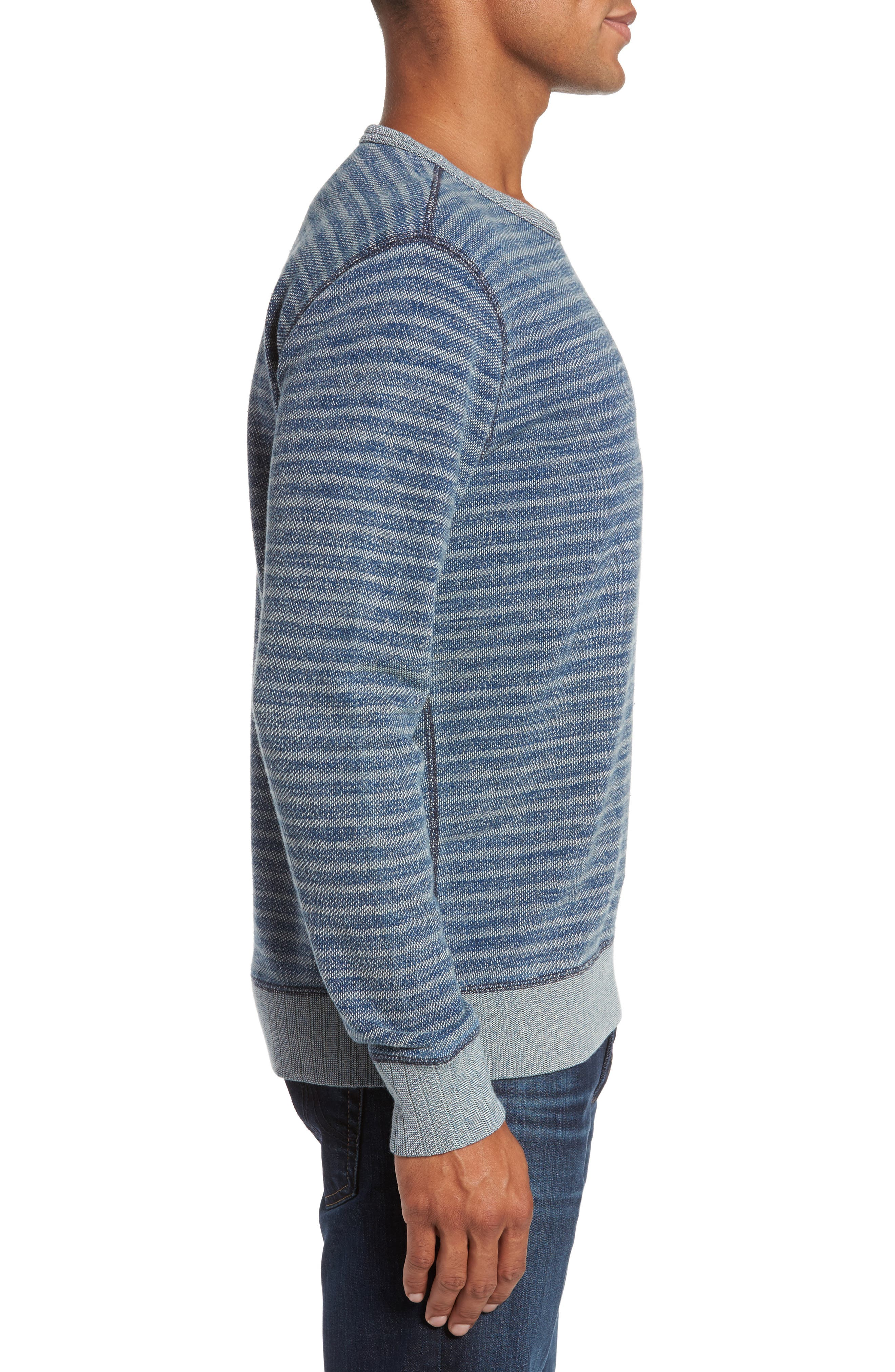 Stripe Crewneck Sweatshirt,                             Alternate thumbnail 3, color,                             402
