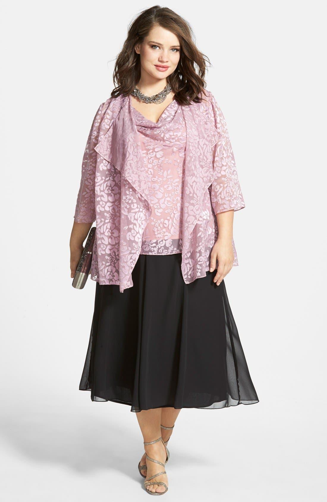 Chiffon Skirt,                             Alternate thumbnail 6, color,                             BLACK