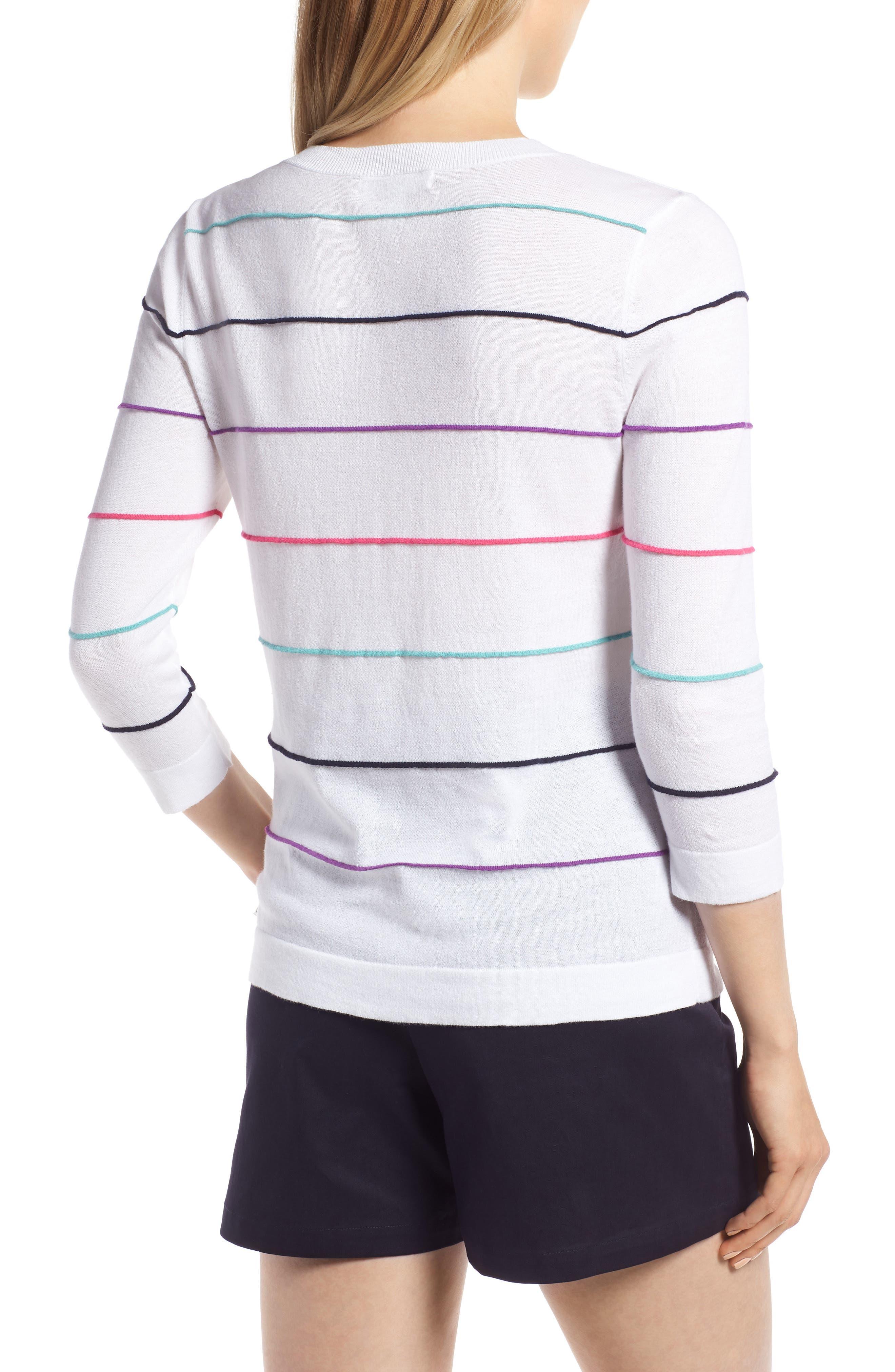Stripe Cotton Sweater,                             Alternate thumbnail 2, color,                             100