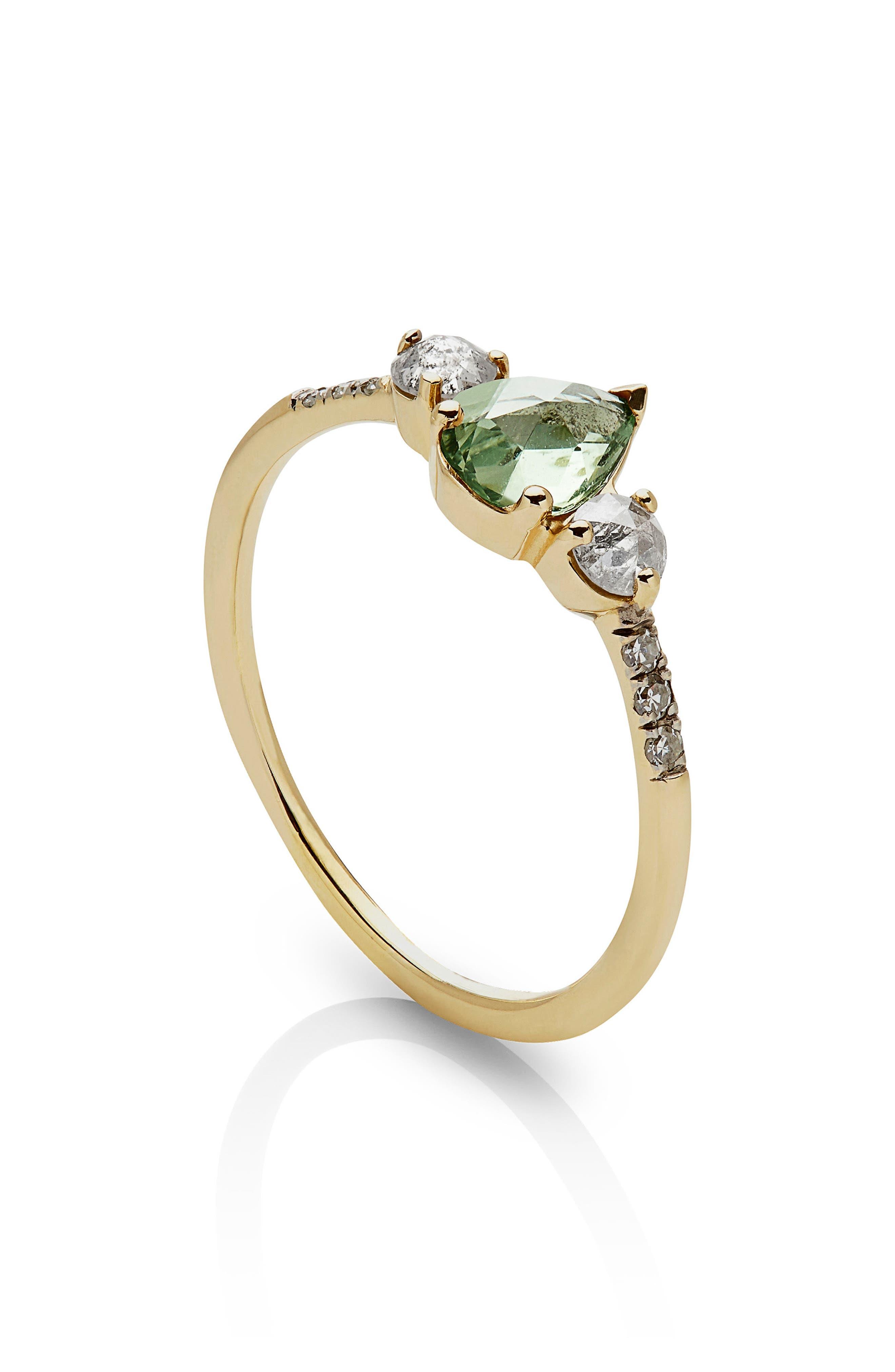 Radiance Sapphire & Diamond Ring,                             Alternate thumbnail 2, color,                             YELLOW GOLD/ GREEN SAPPHIRE