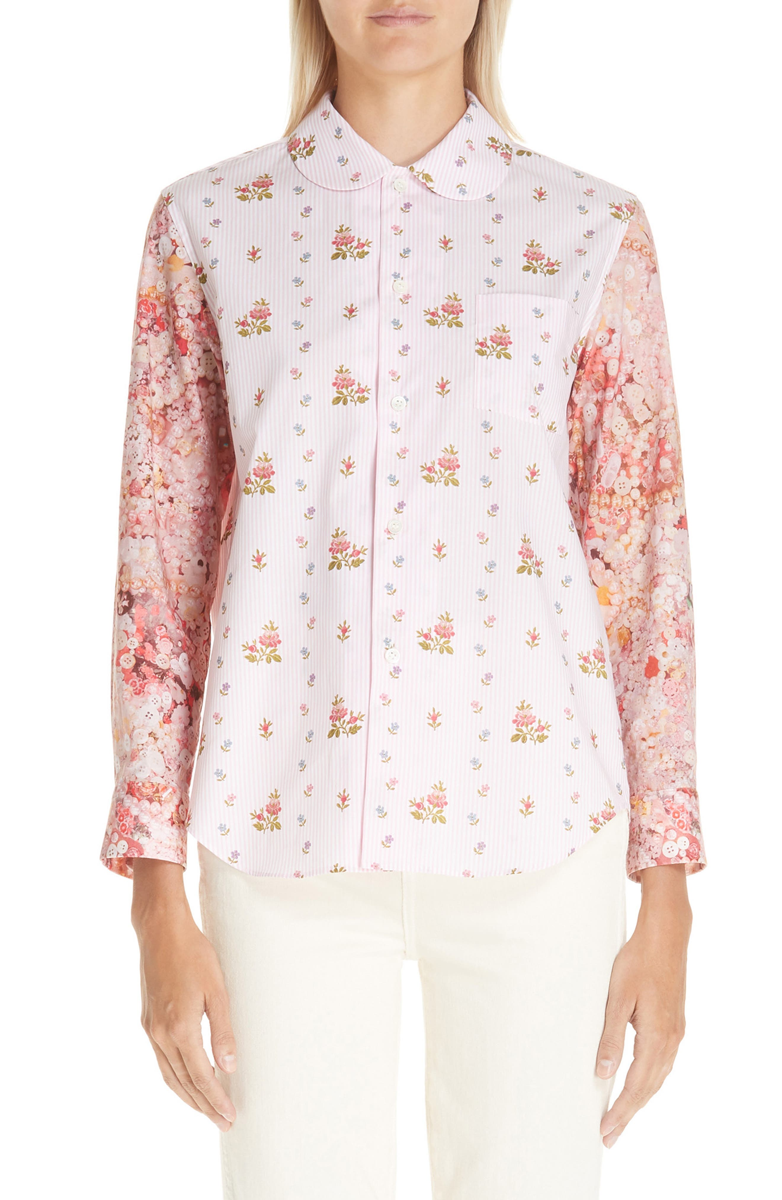 TRICOT COMME DES GARCONS Floral Print Cotton Shirt in Pink X Pink