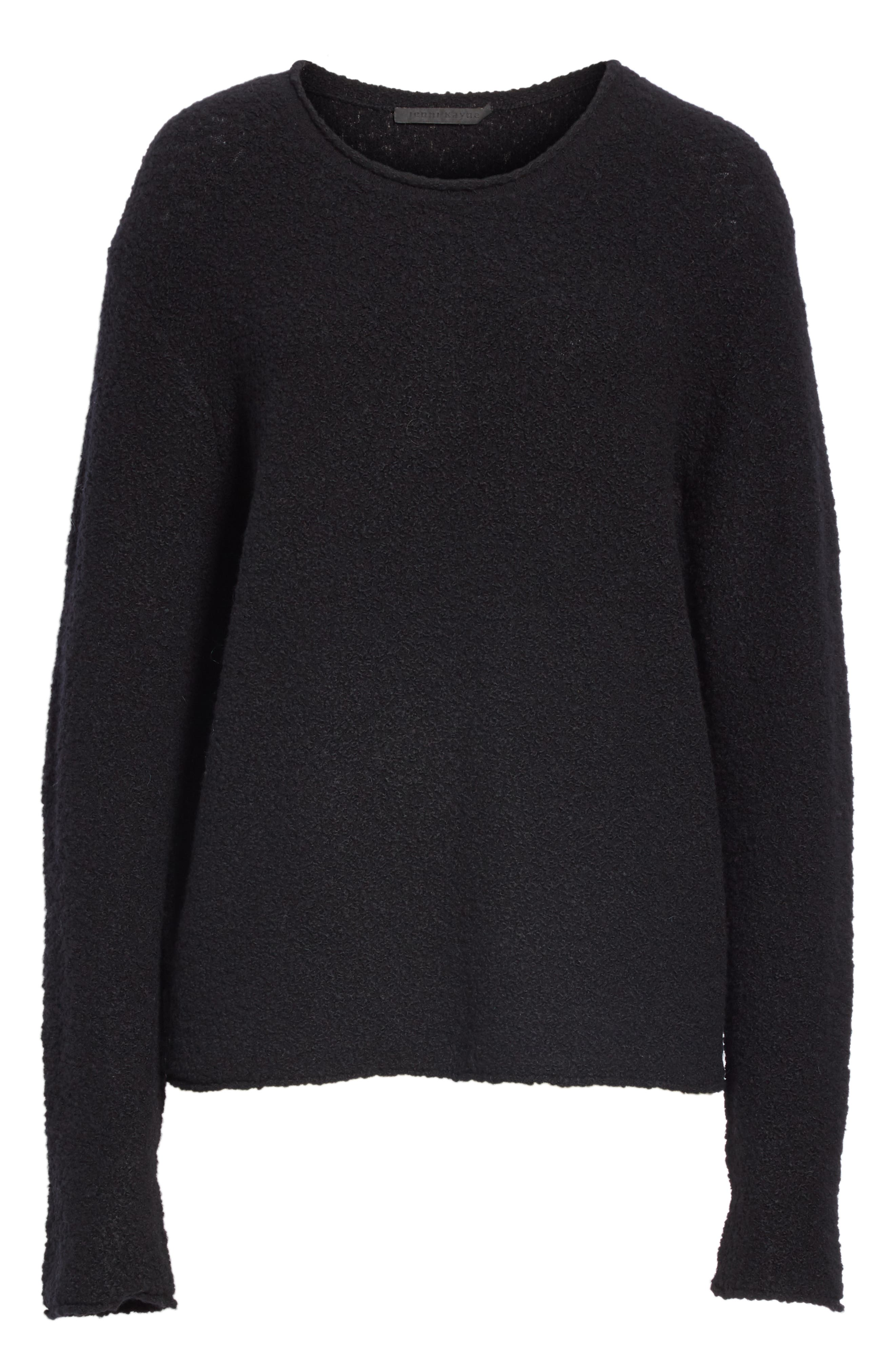 Bouclé Crewneck Sweater,                             Alternate thumbnail 6, color,                             BLACK