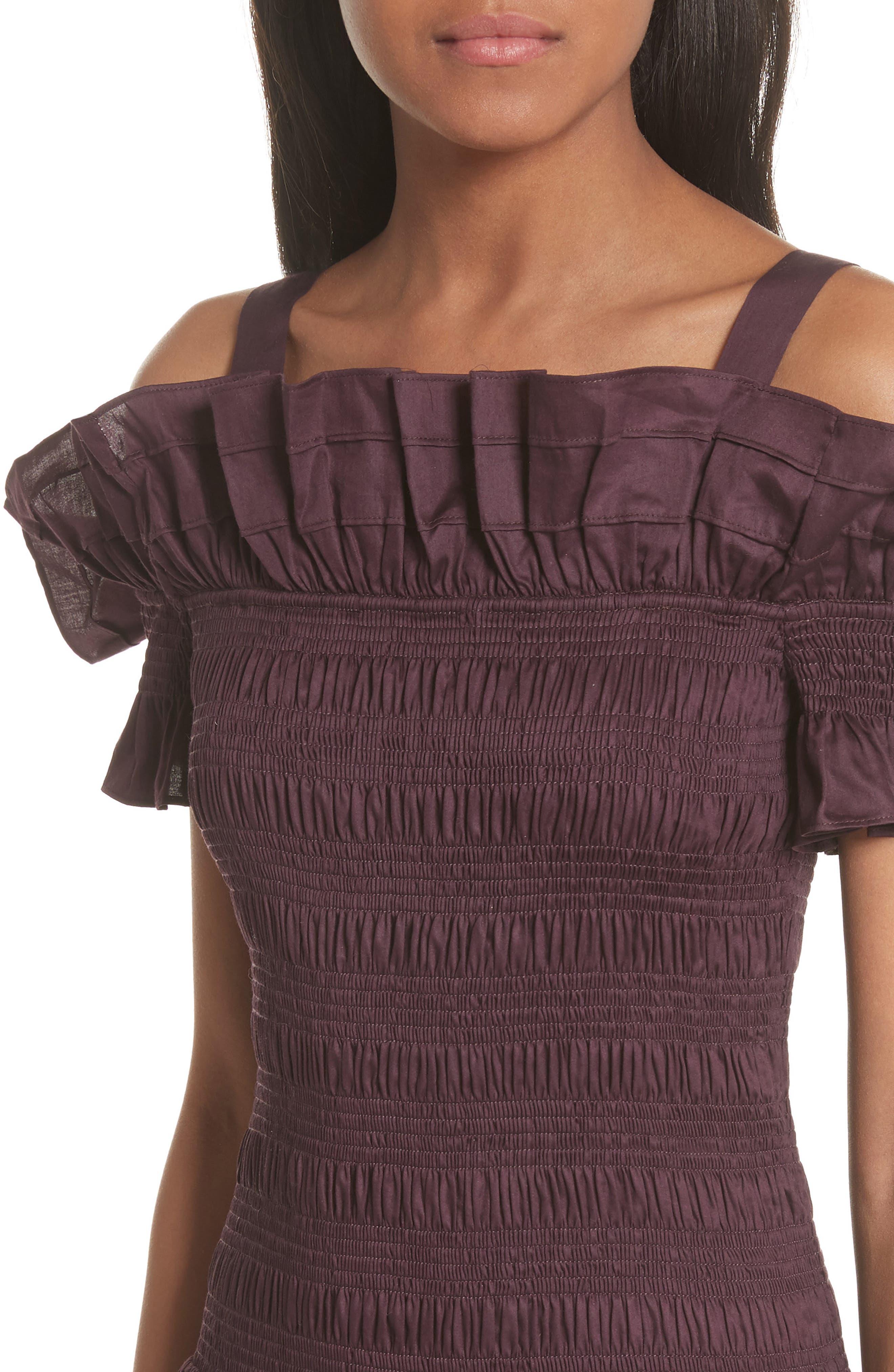 Cold Shoulder Smocked Cotton Dress,                             Alternate thumbnail 4, color,                             PLUM