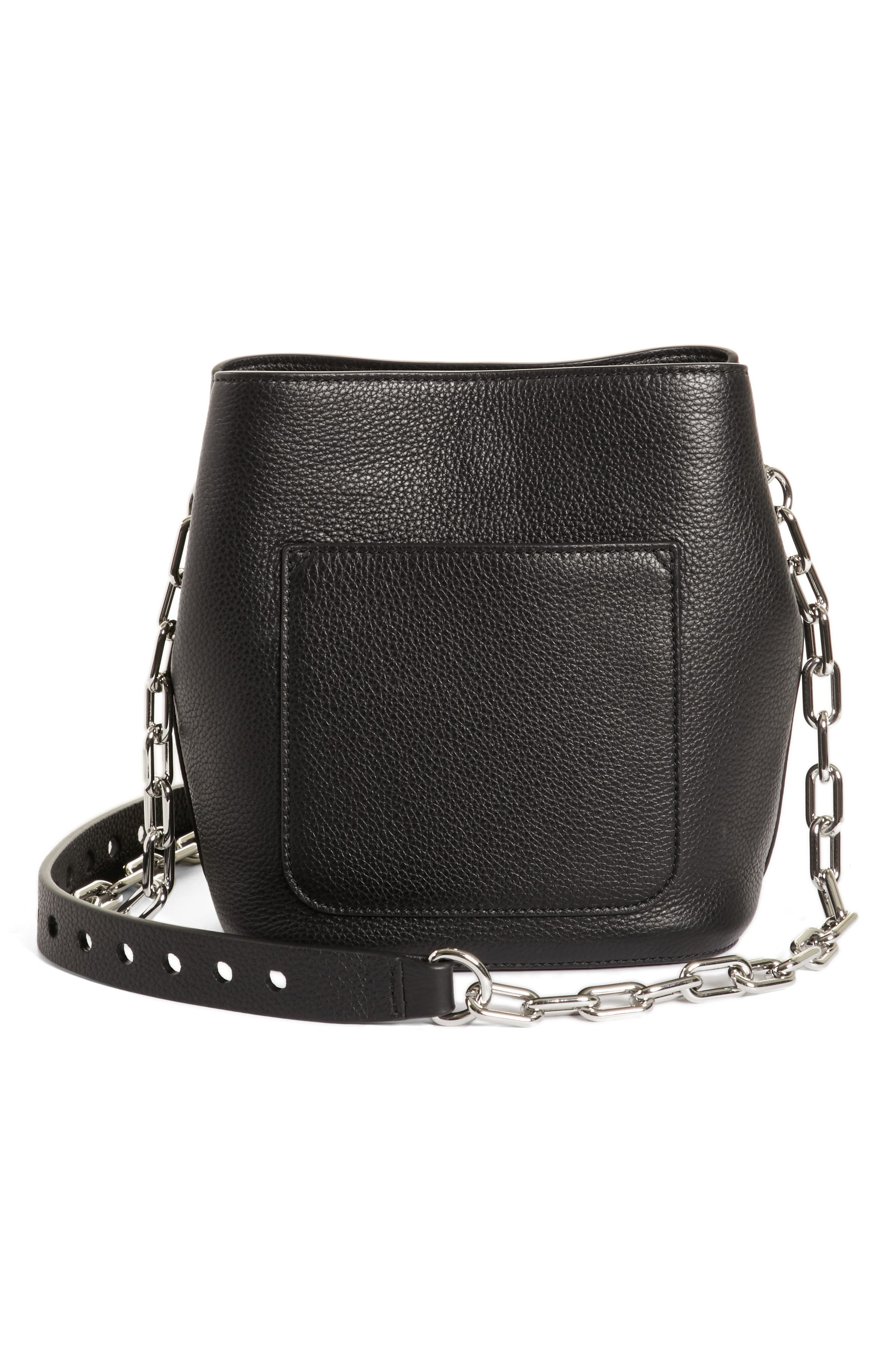 Riot Leather Crossbody Bag,                             Alternate thumbnail 3, color,                             BLACK