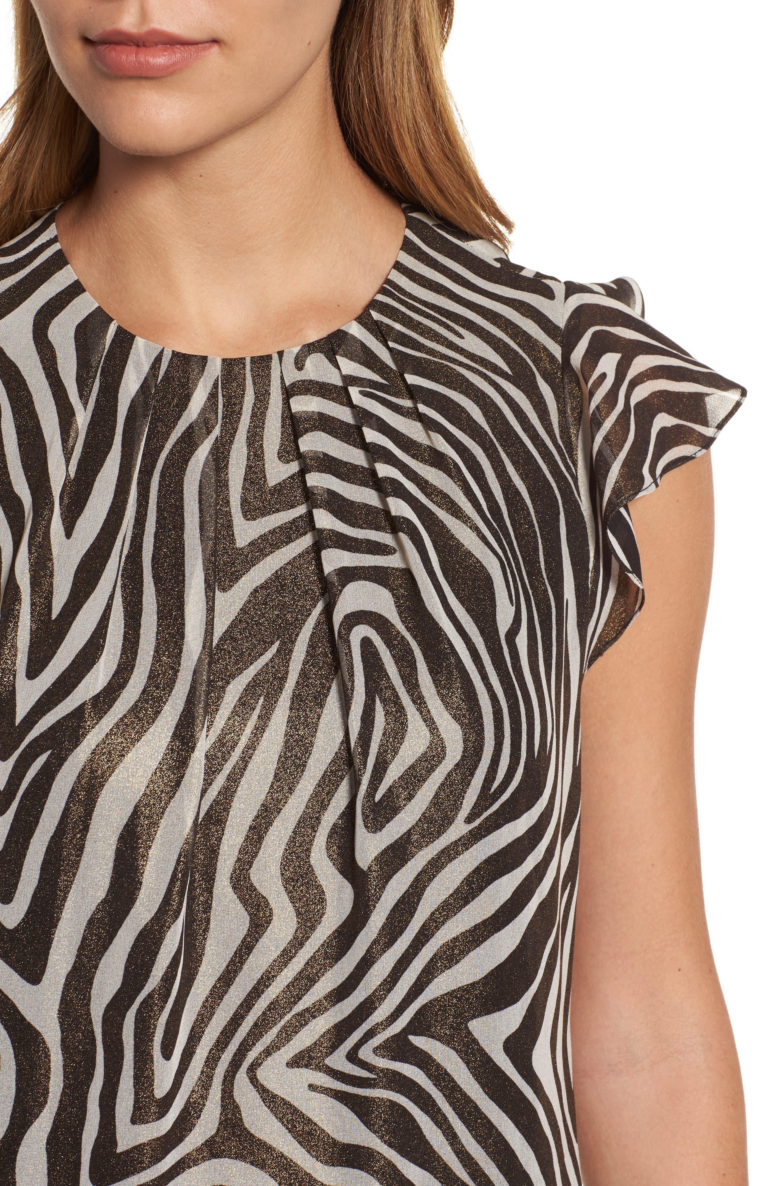 Flounce Sleeve Shimmer Print Top,                             Alternate thumbnail 4, color,                             048