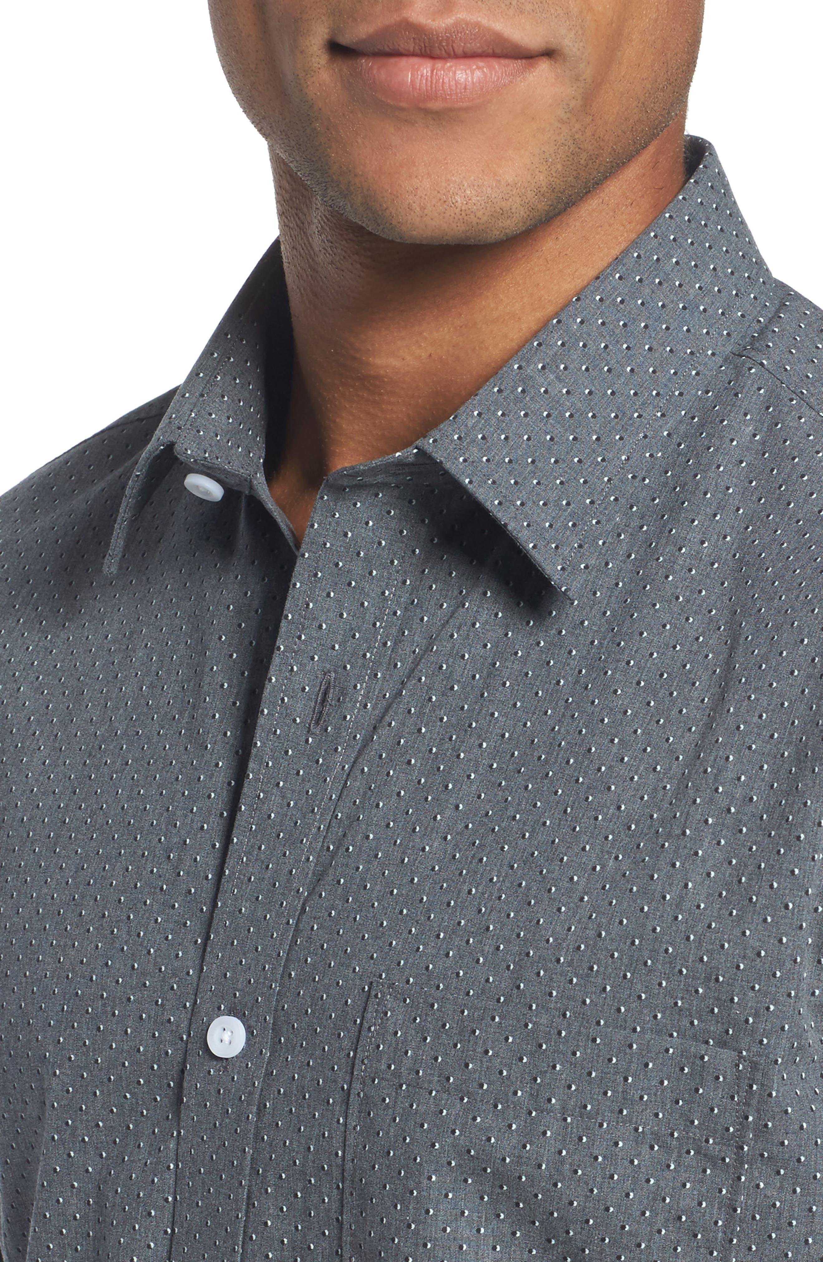 Trim Fit Non-Iron Dot Print Sport Shirt,                             Alternate thumbnail 4, color,                             030