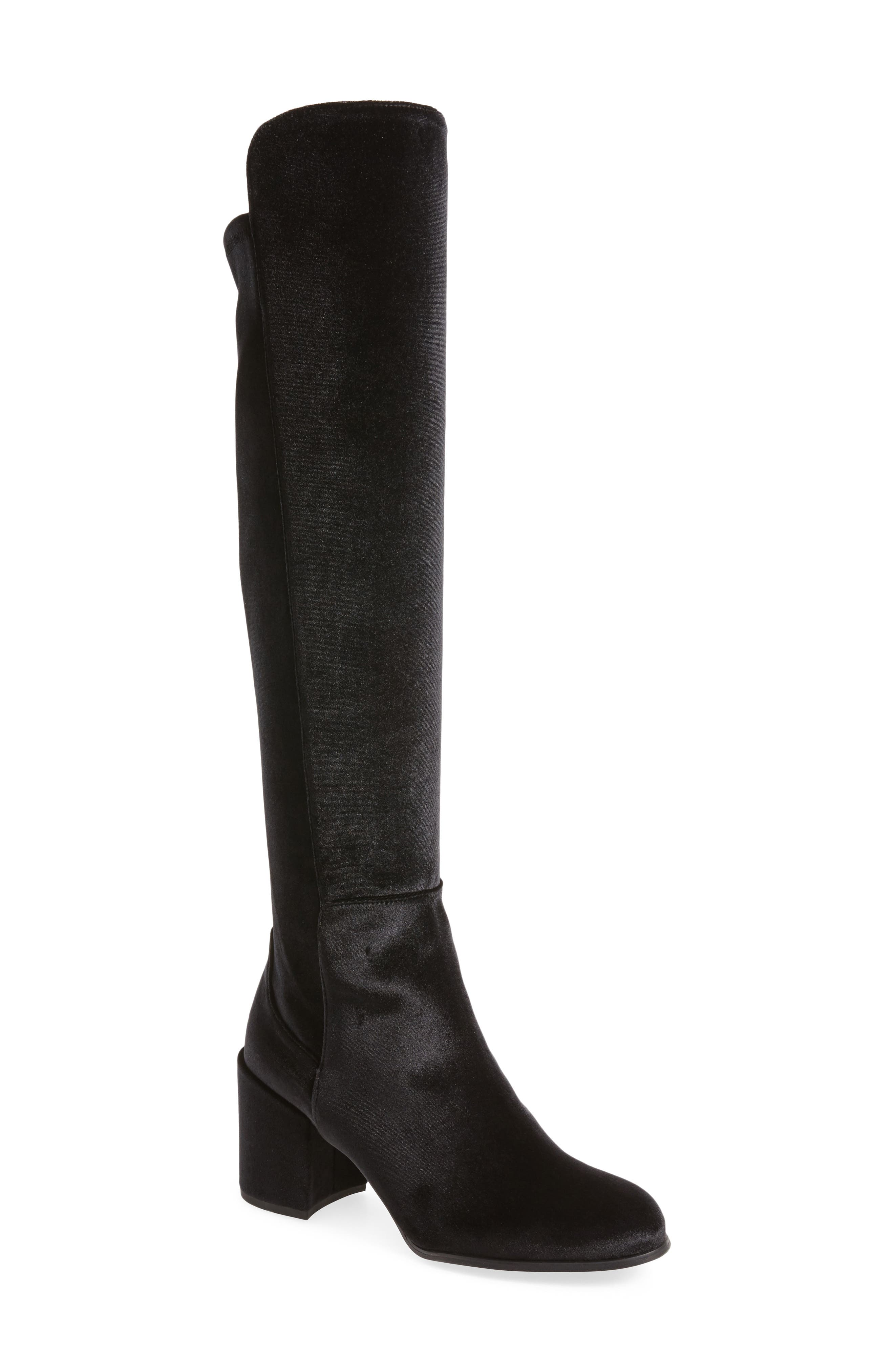 Lowjack Over the Knee Stretch Velvet Boot, Main, color, 003