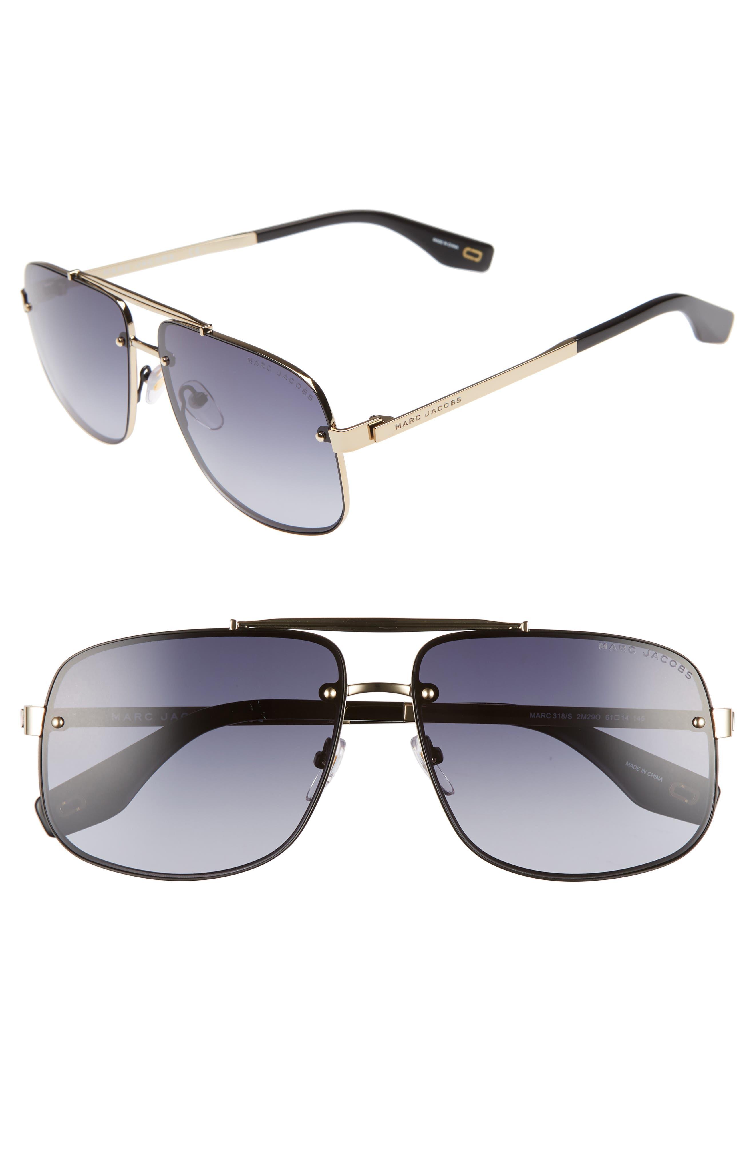 61mm Navigator Sunglasses,                             Main thumbnail 1, color,                             BLACK/ GOLD