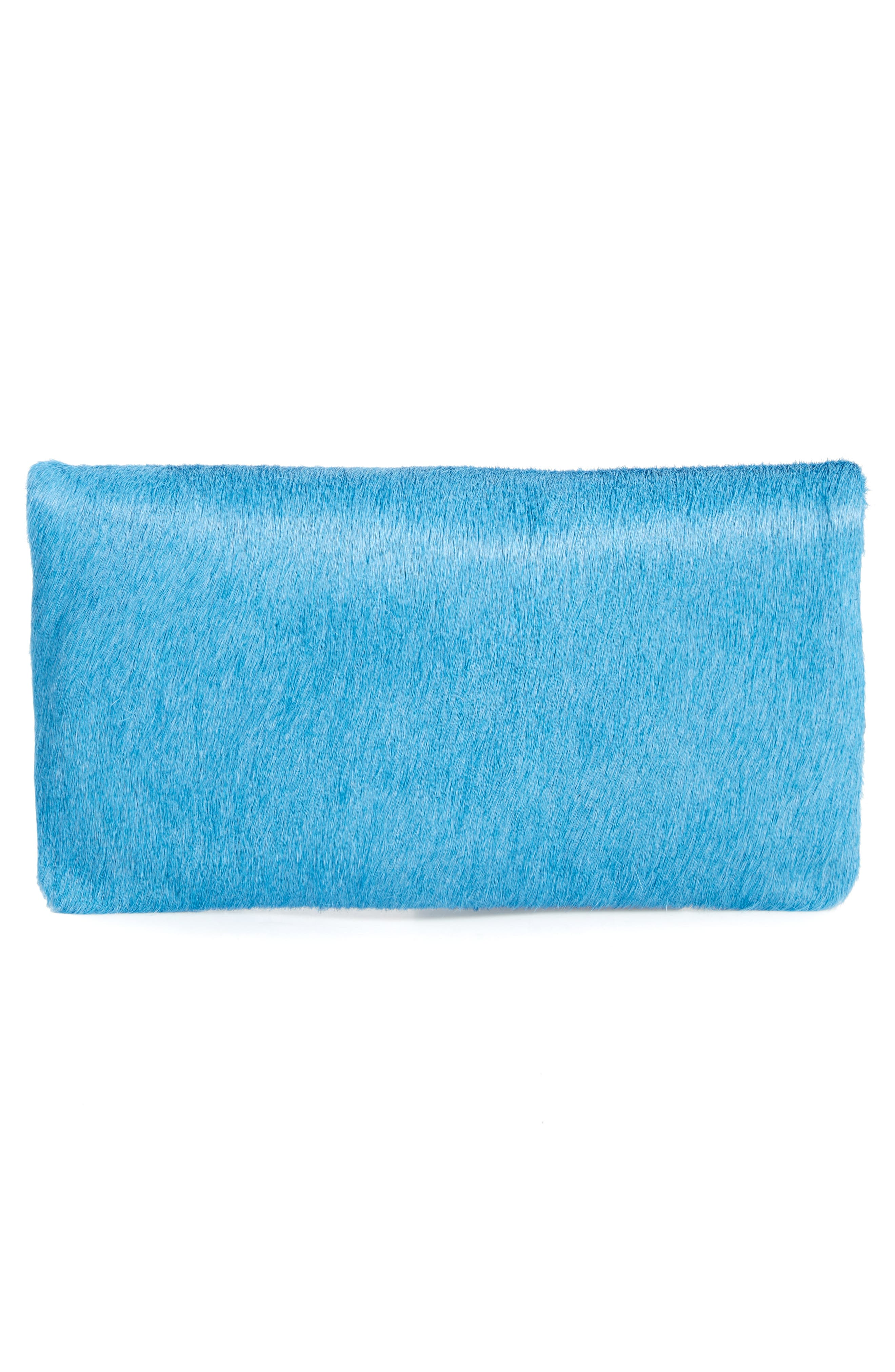 Genuine Calf Hair Foldover Clutch,                             Alternate thumbnail 3, color,                             400