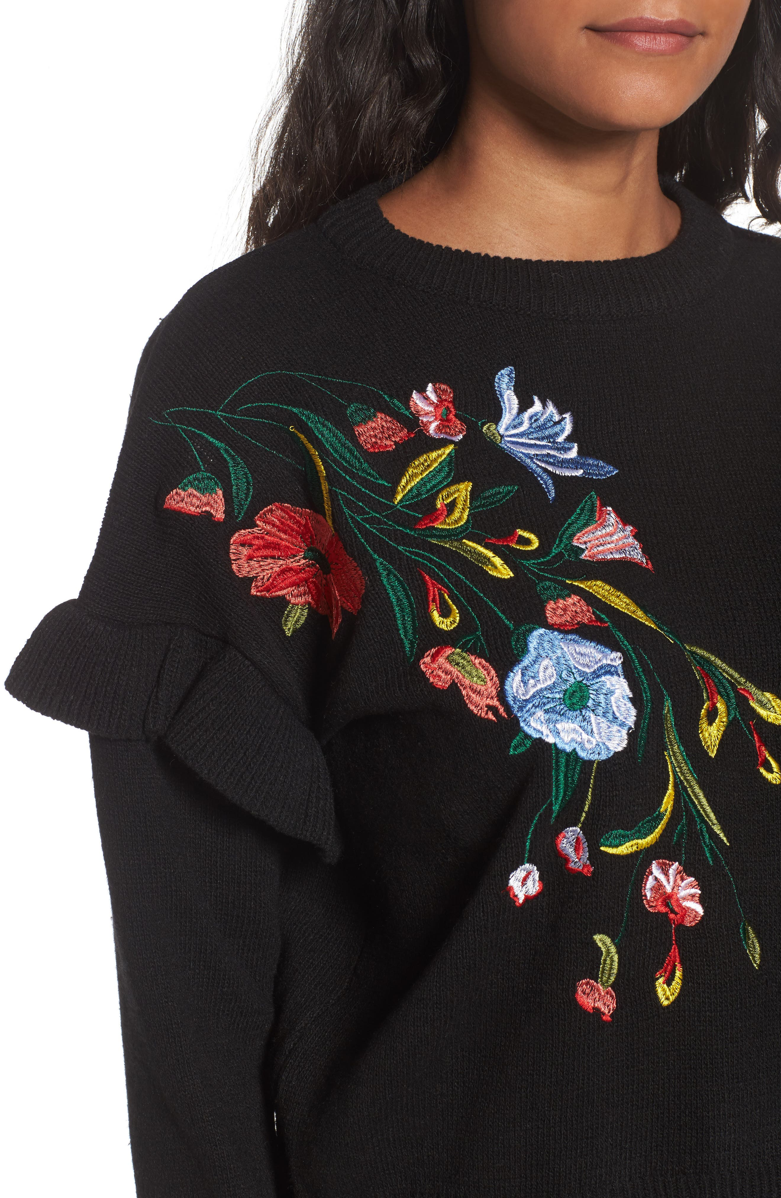 Ruffle Sleeve Embroidered Sweater,                             Alternate thumbnail 4, color,                             001