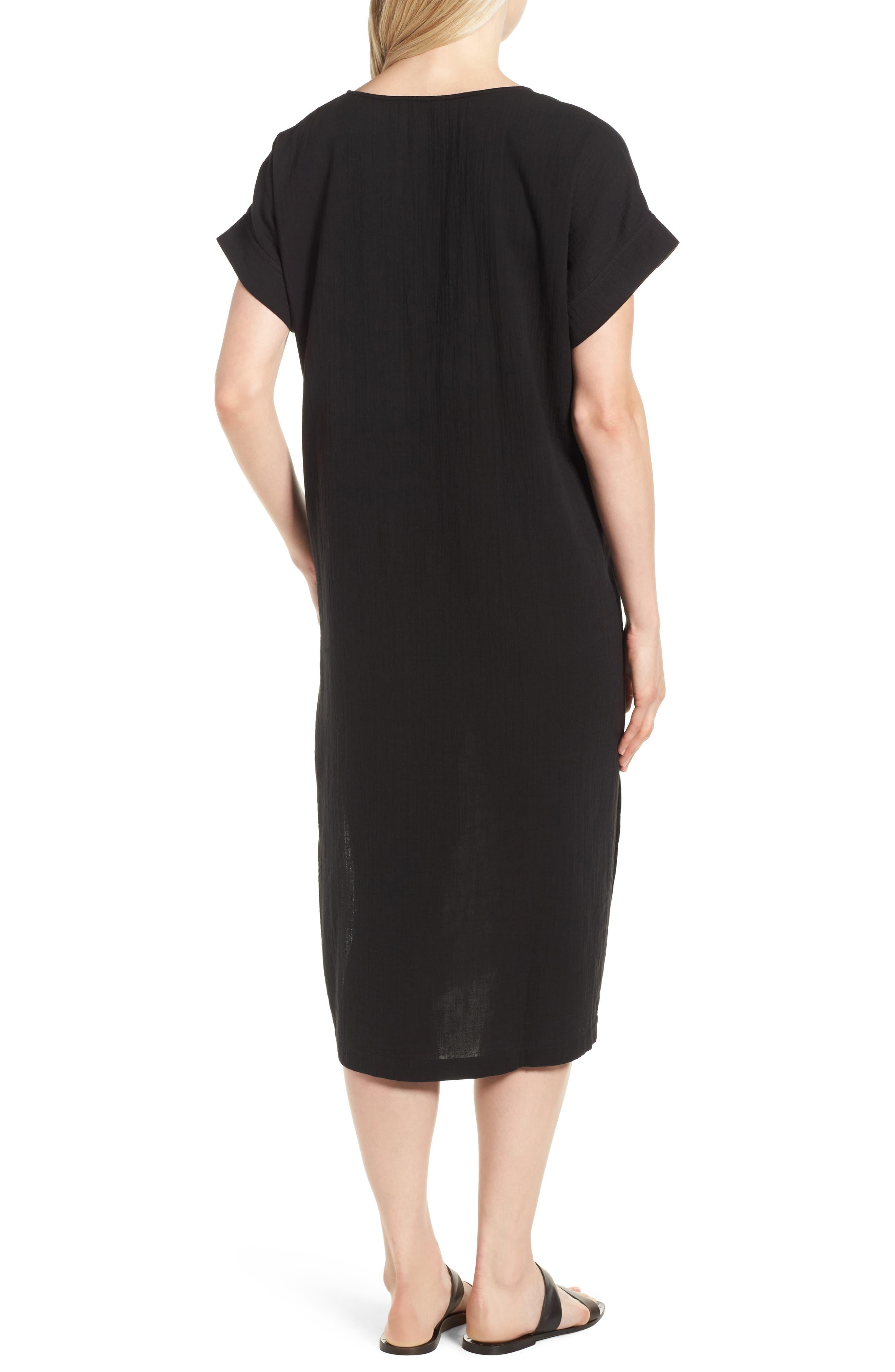 V-Neck Cotton Midi Dress,                             Alternate thumbnail 2, color,                             001