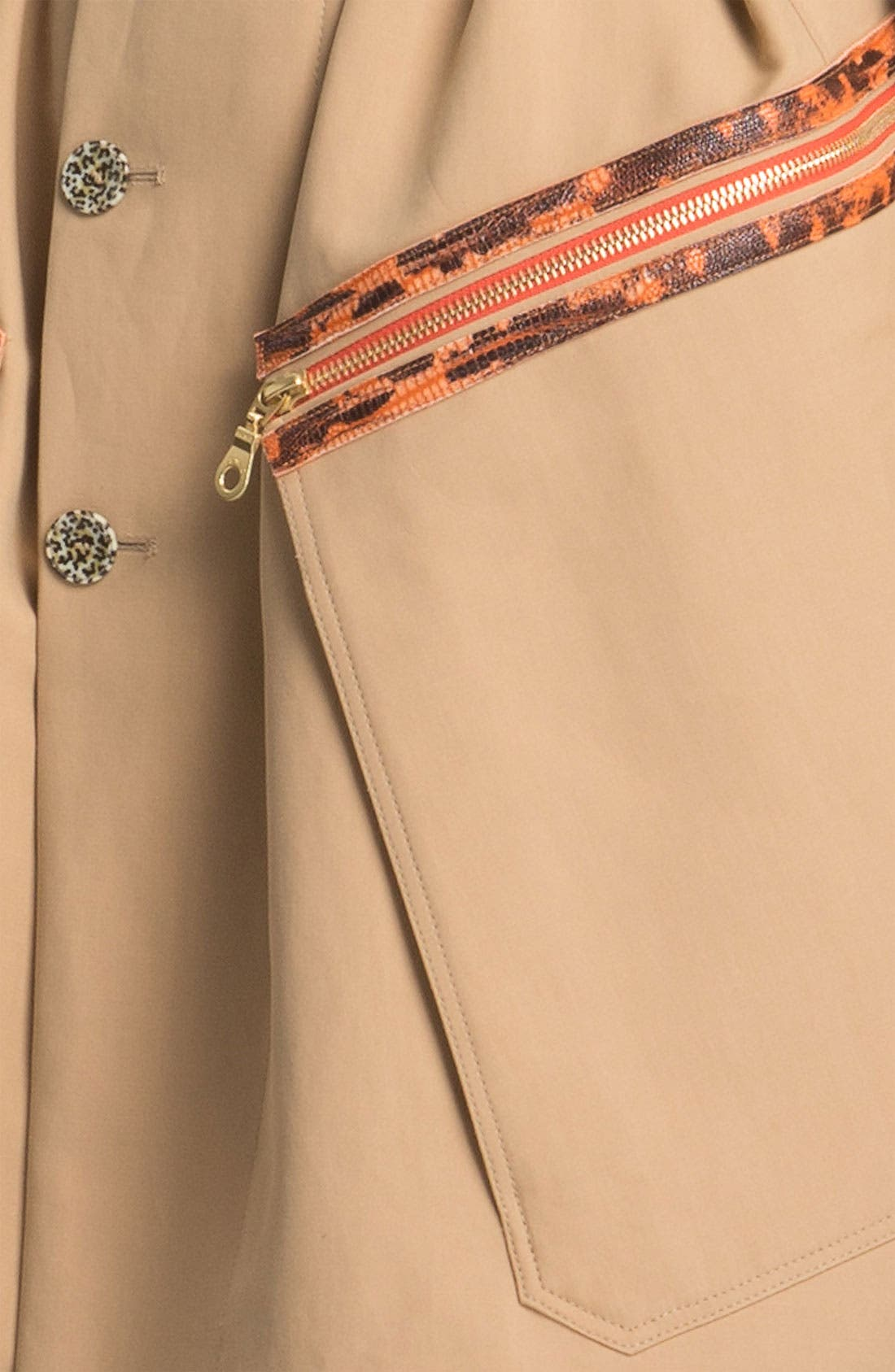 Belted Leather Trim Trench Coat,                             Alternate thumbnail 3, color,                             250