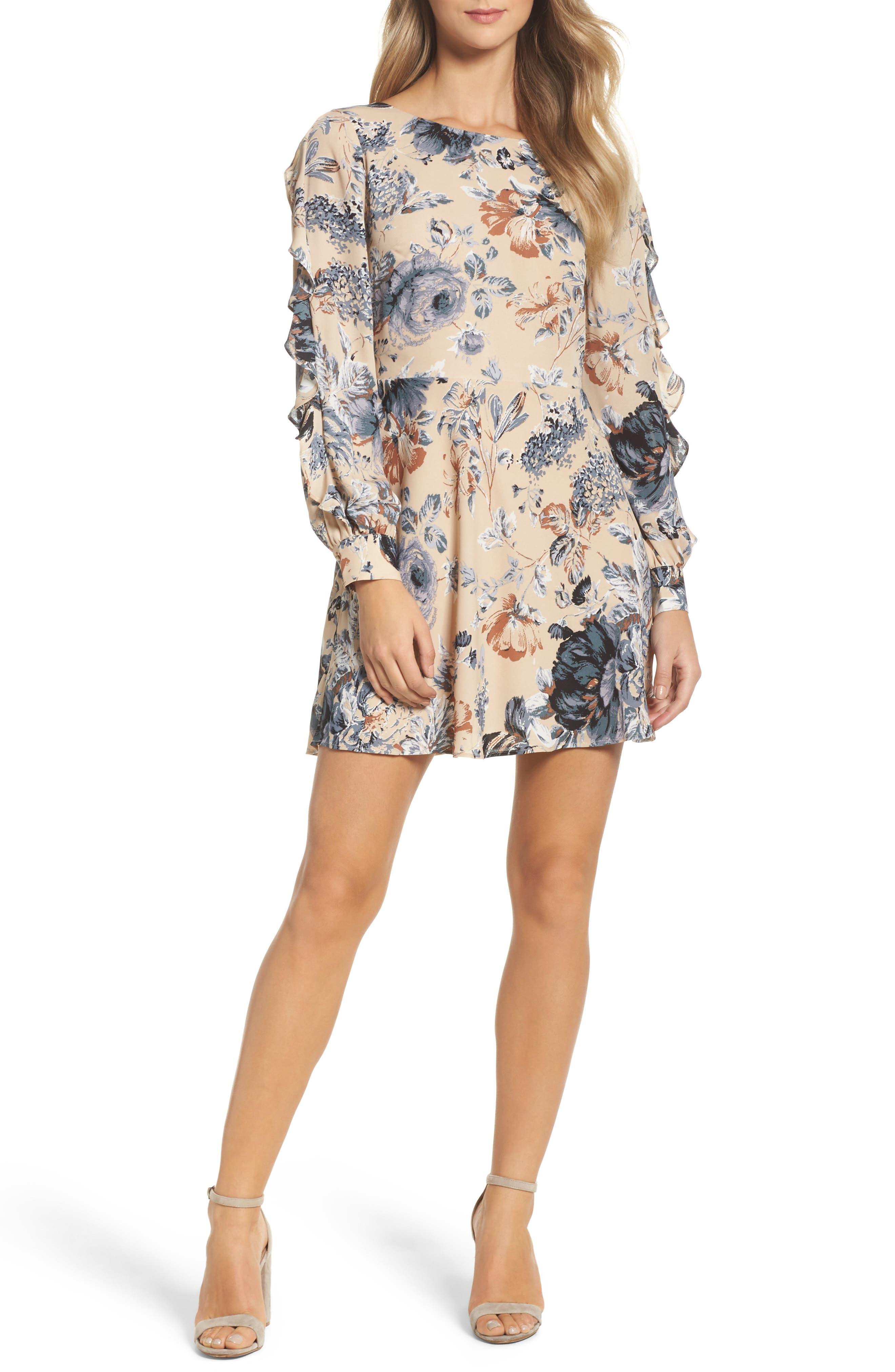 Merci Floral Fit & Flare Dress,                             Main thumbnail 1, color,                             264