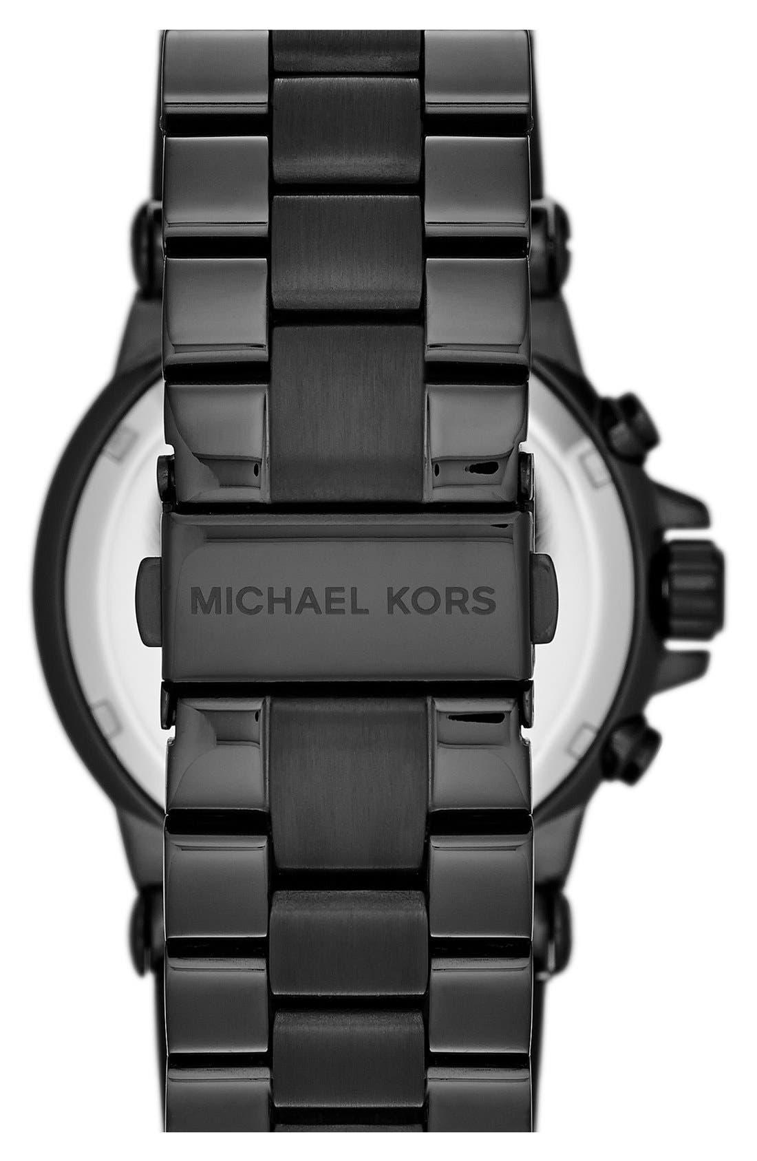 Michael Kors 'Dylan' Crystal Bezel Chronograph Watch, 43mm,                             Alternate thumbnail 2, color,                             001