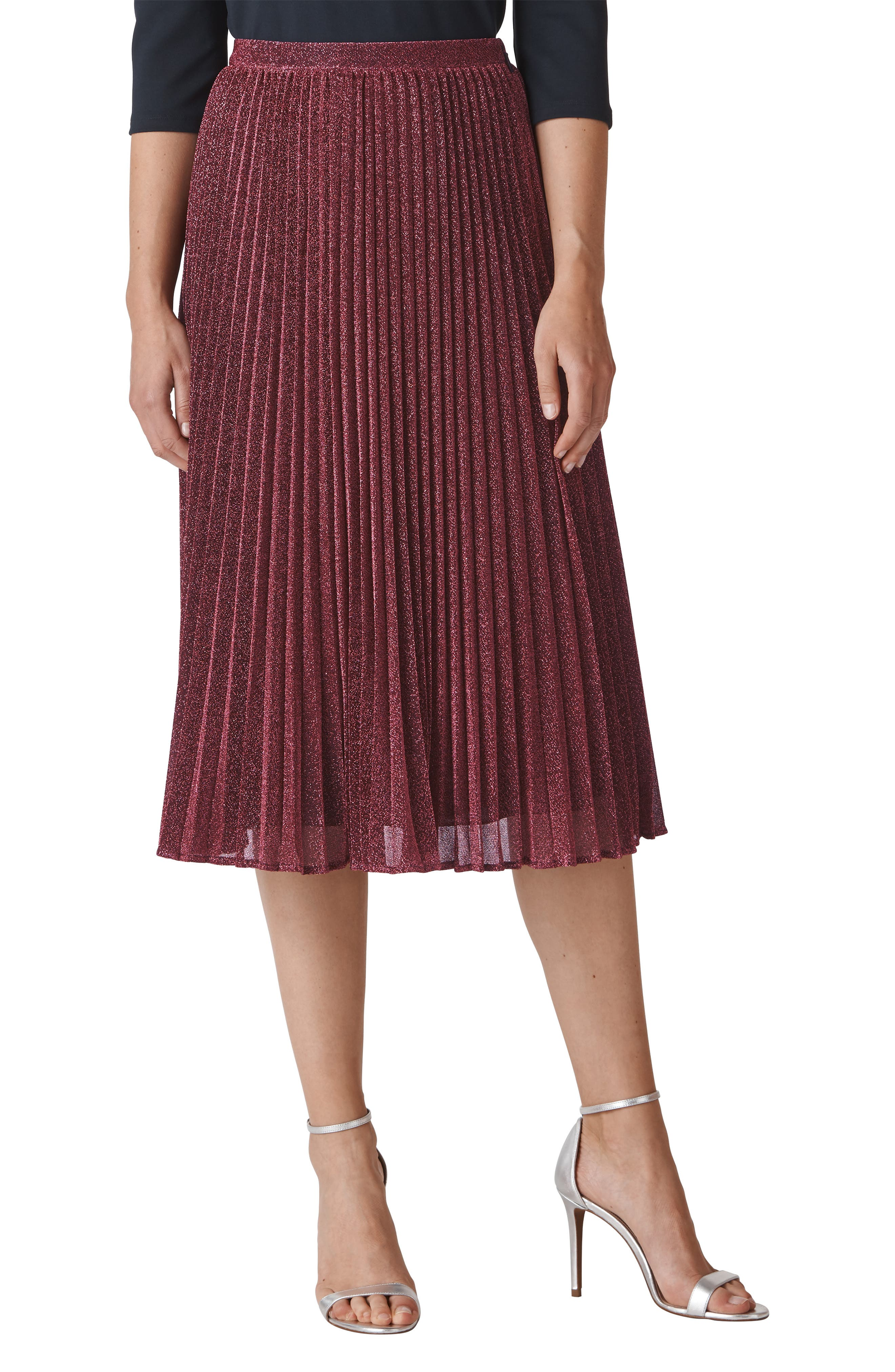 WHISTLES Sparkle Pleated Skirt, Main, color, 655