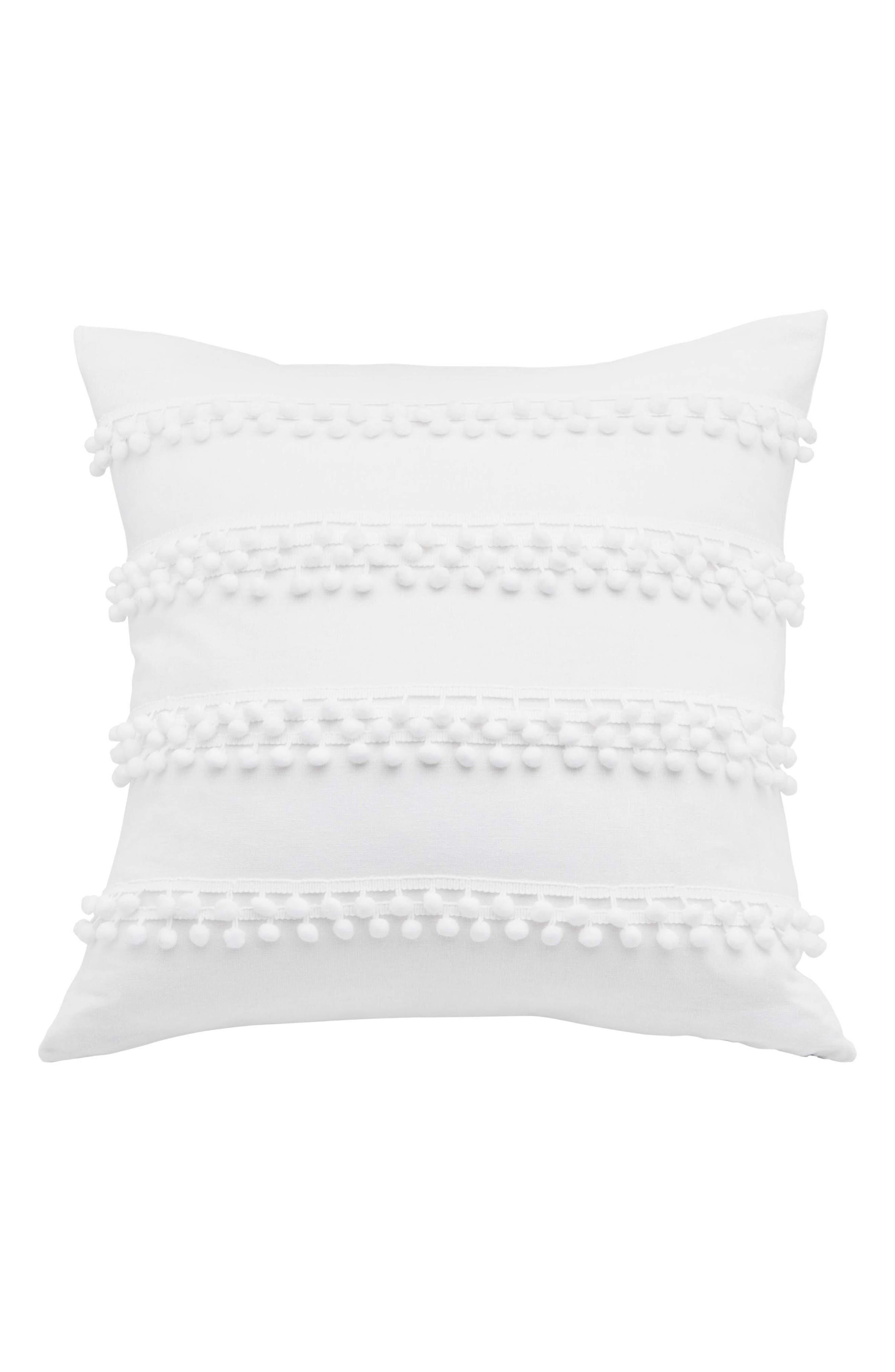 Pompom Square Pillow,                         Main,                         color, WHITE