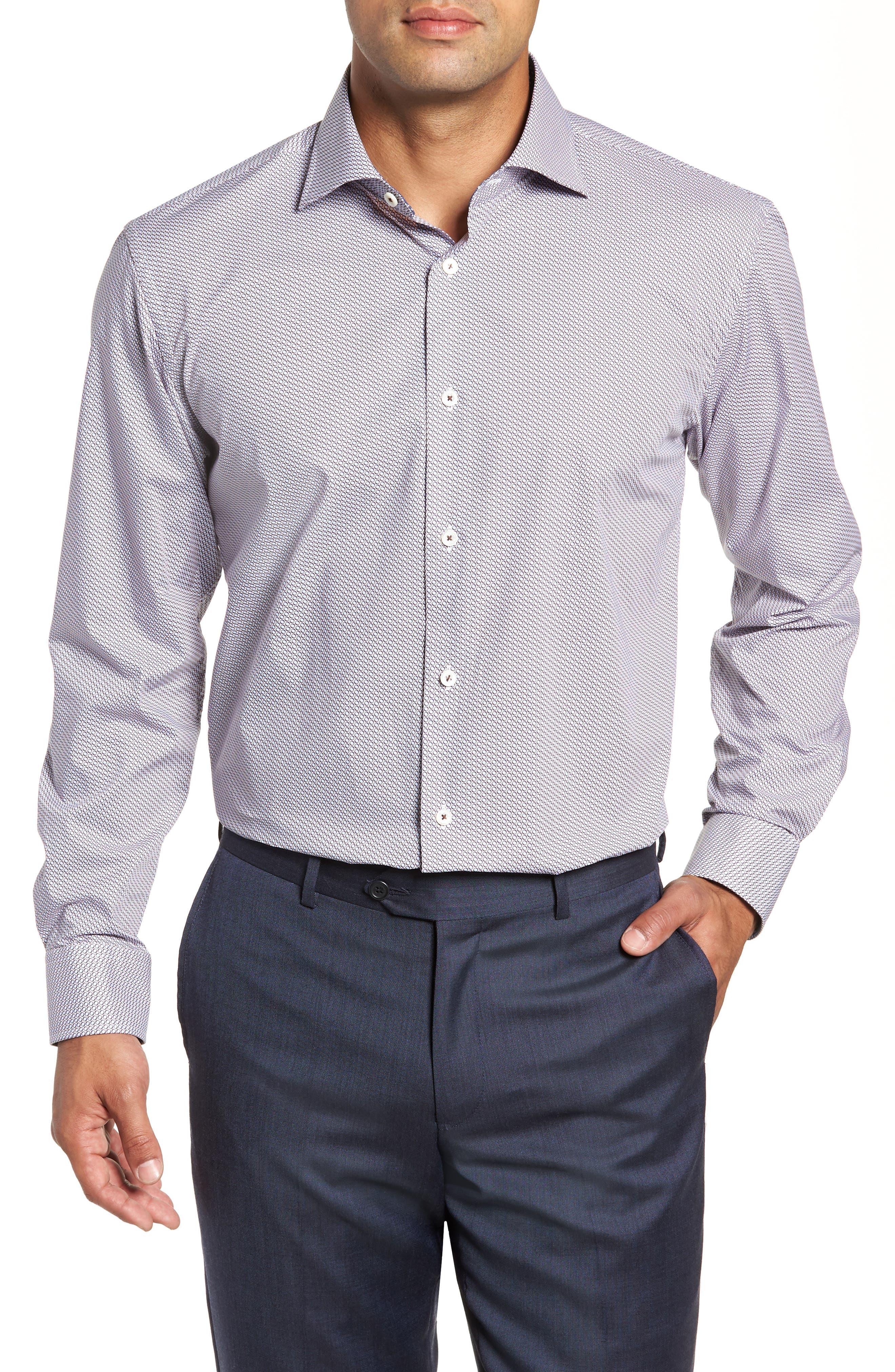 Trim Fit Print Dress Shirt,                         Main,                         color, BISCOTTI