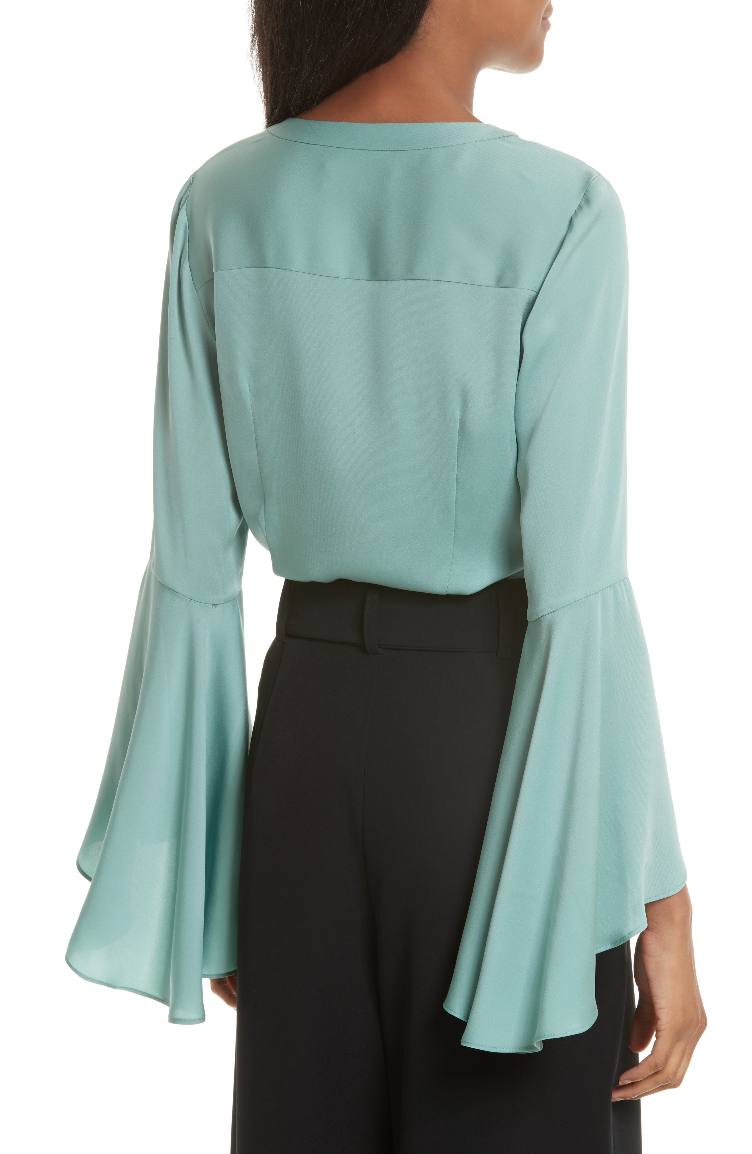 Michelle Bell Sleeve Stretch Silk Blouse,                             Alternate thumbnail 2, color,                             419