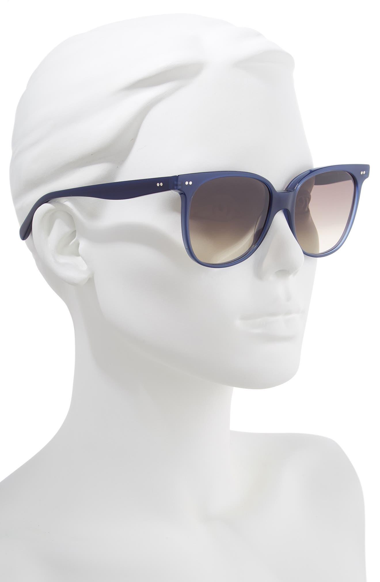 57mm Round Sunglasses,                             Alternate thumbnail 2, color,                             BLUE/ BROWN GRADIENT