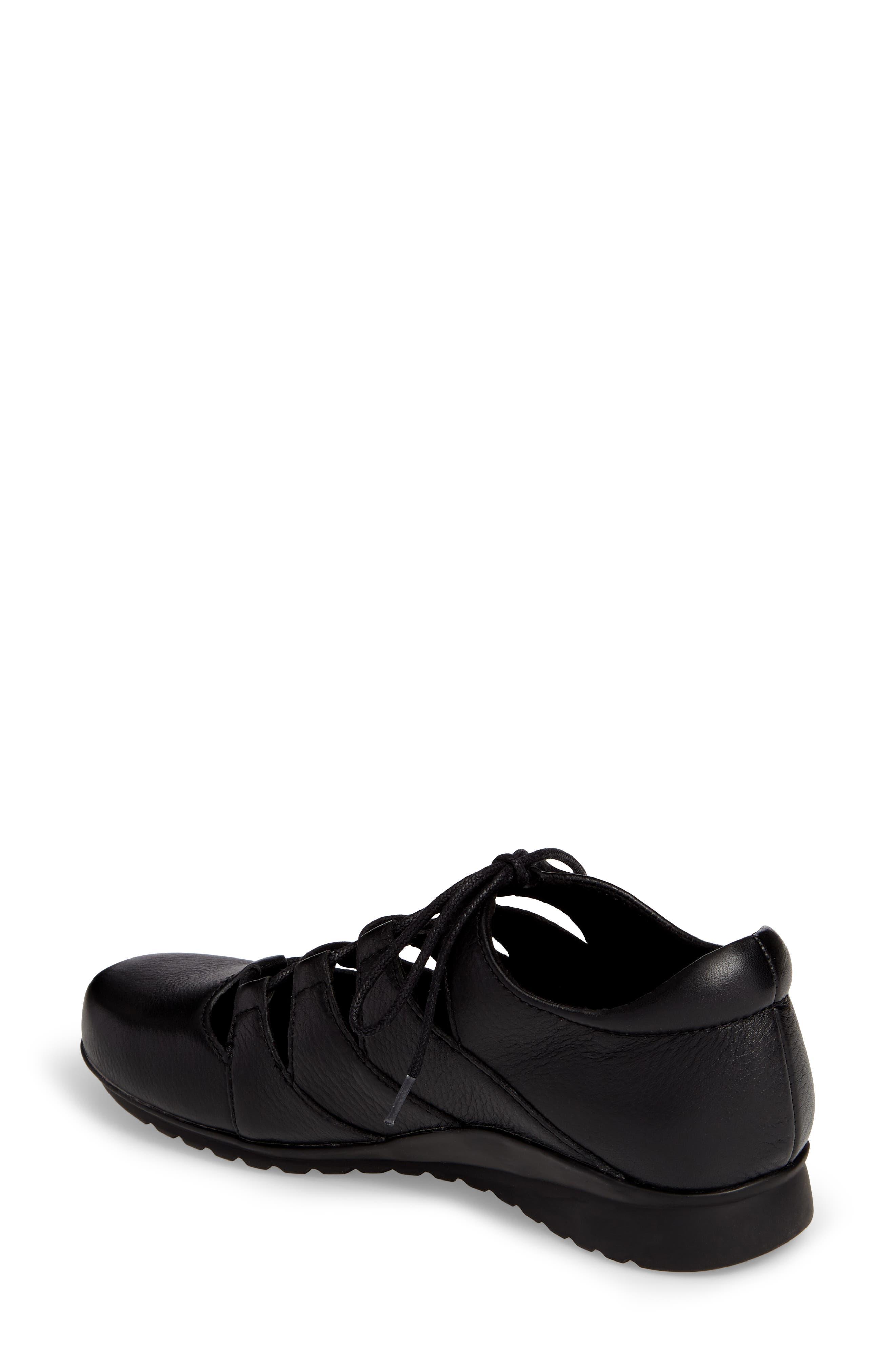 Sienna Cutout Sneaker,                             Alternate thumbnail 2, color,                             BLACK LEATHER/ BLACK