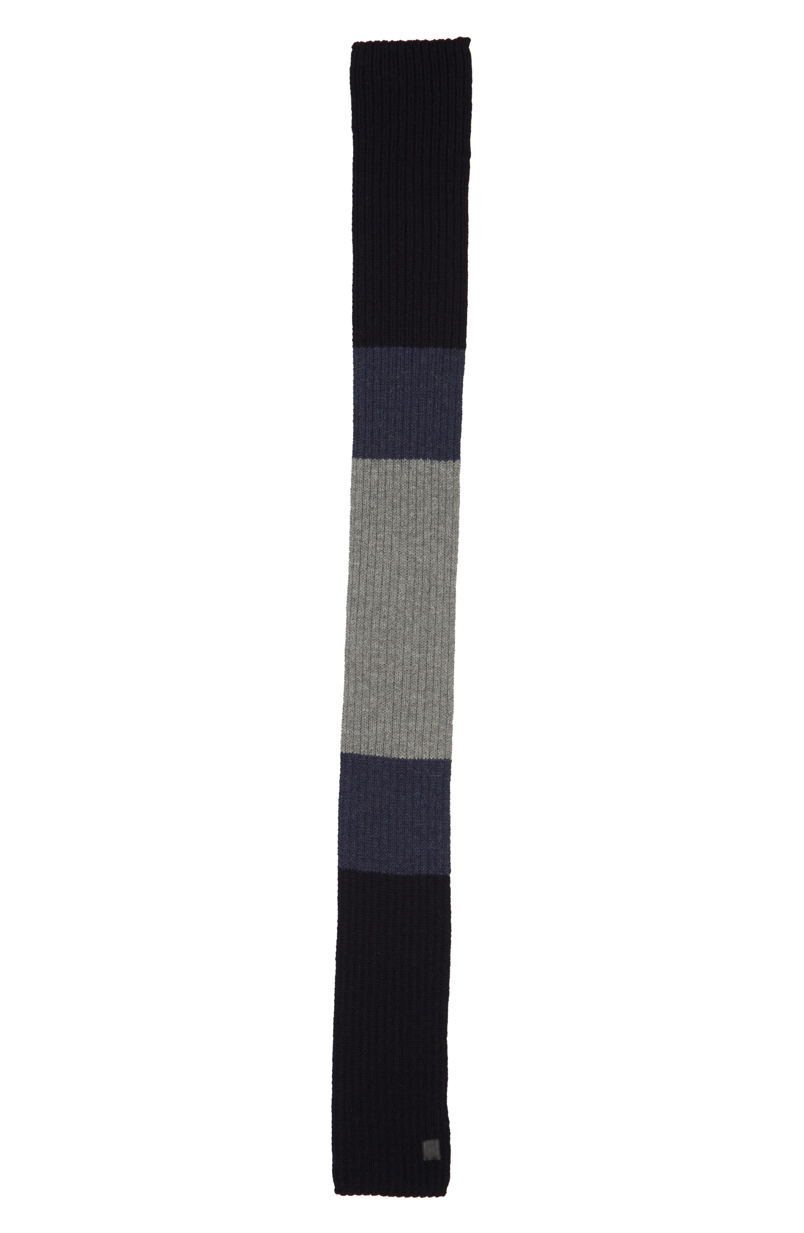 CANADA GOOSE,                             Colorblock Ribbed Wool Scarf,                             Alternate thumbnail 2, color,                             NAVY