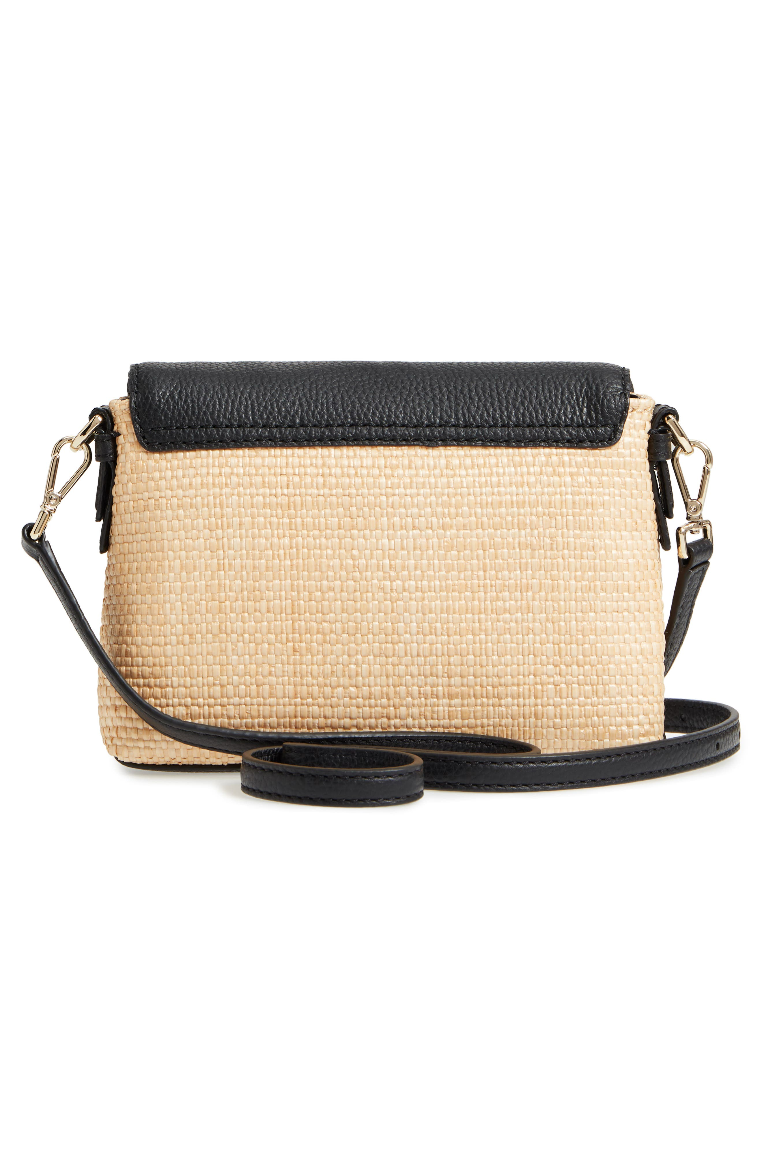 jackson street – harlyn straw & leather crossbody bag,                             Alternate thumbnail 3, color,