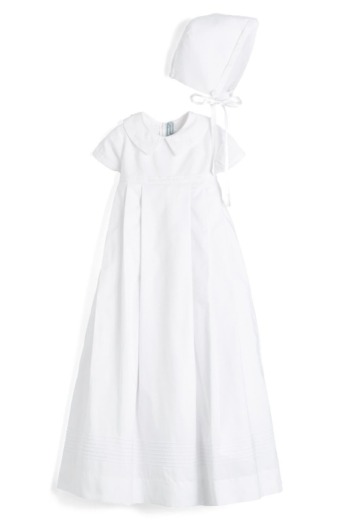 'Classic' Christening Gown & Bonnet,                         Main,                         color, WHITE