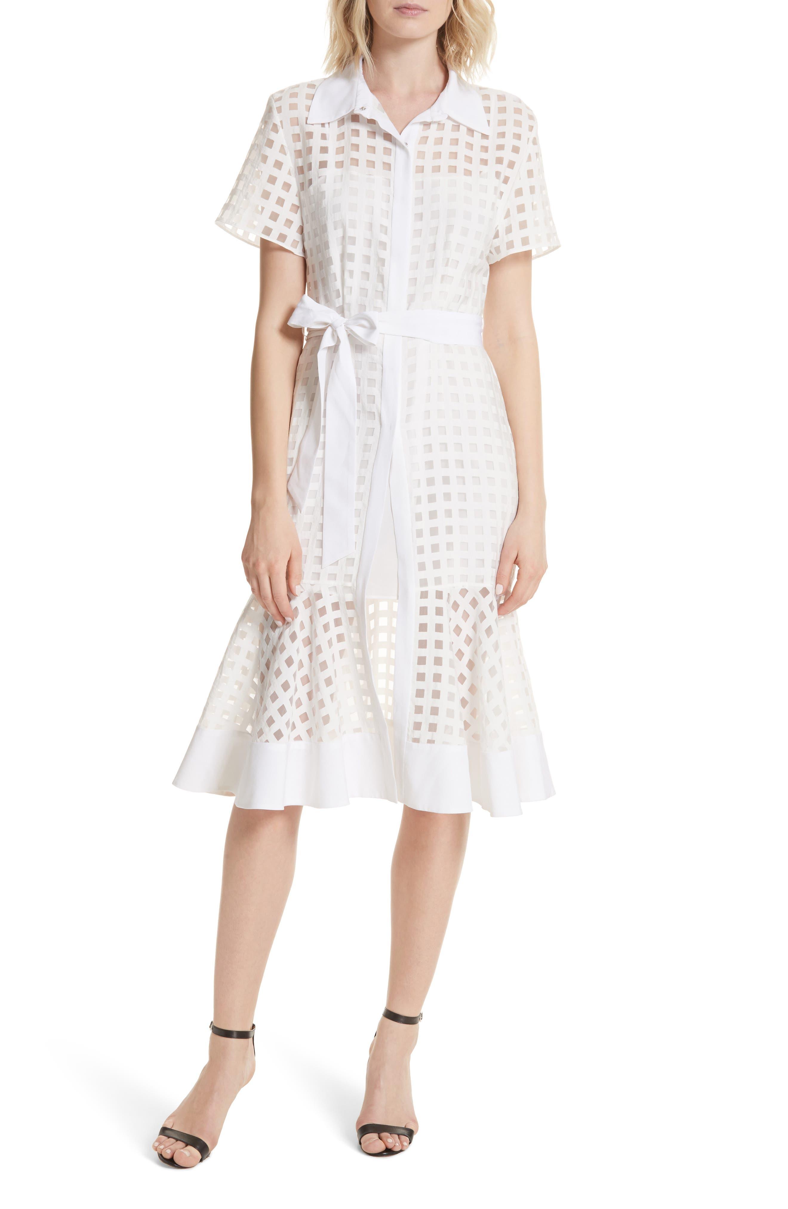 Haley Window Check Shirtdress,                         Main,                         color, WHITE