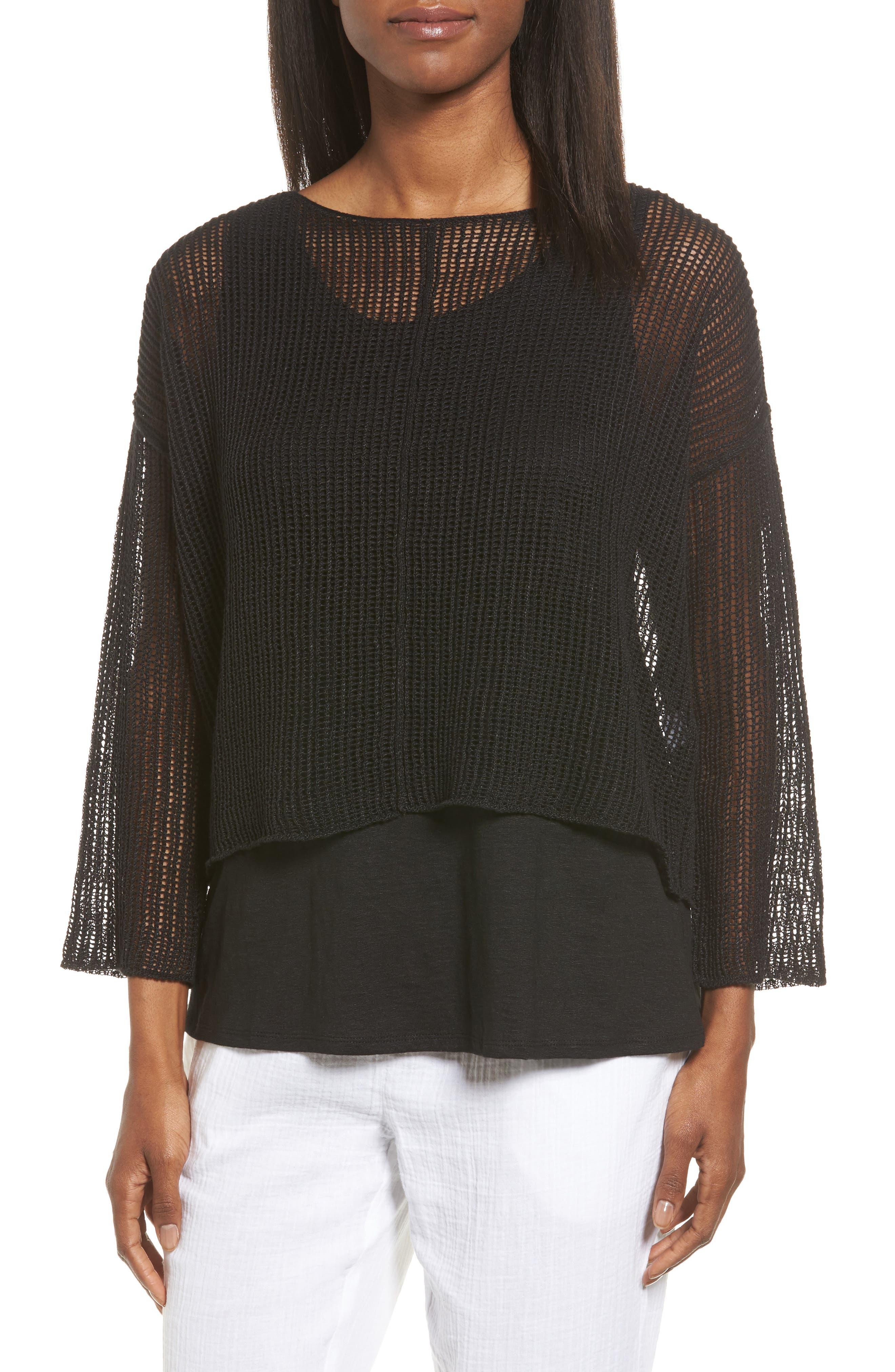 Organic Linen Crop Sweater,                             Main thumbnail 1, color,