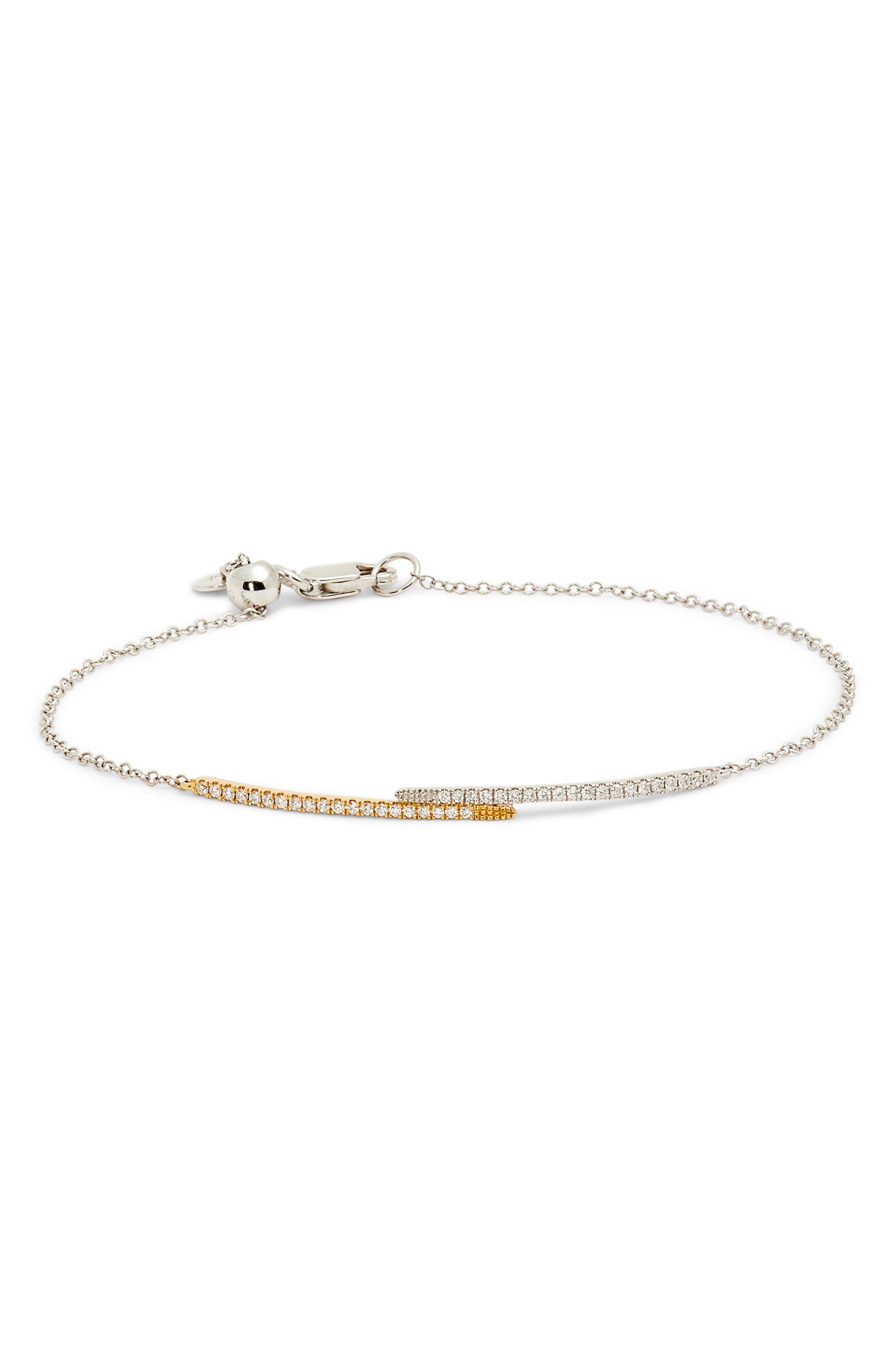 Two-Tone Adjustable Diamond Bar Bracelet,                             Main thumbnail 1, color,                             040