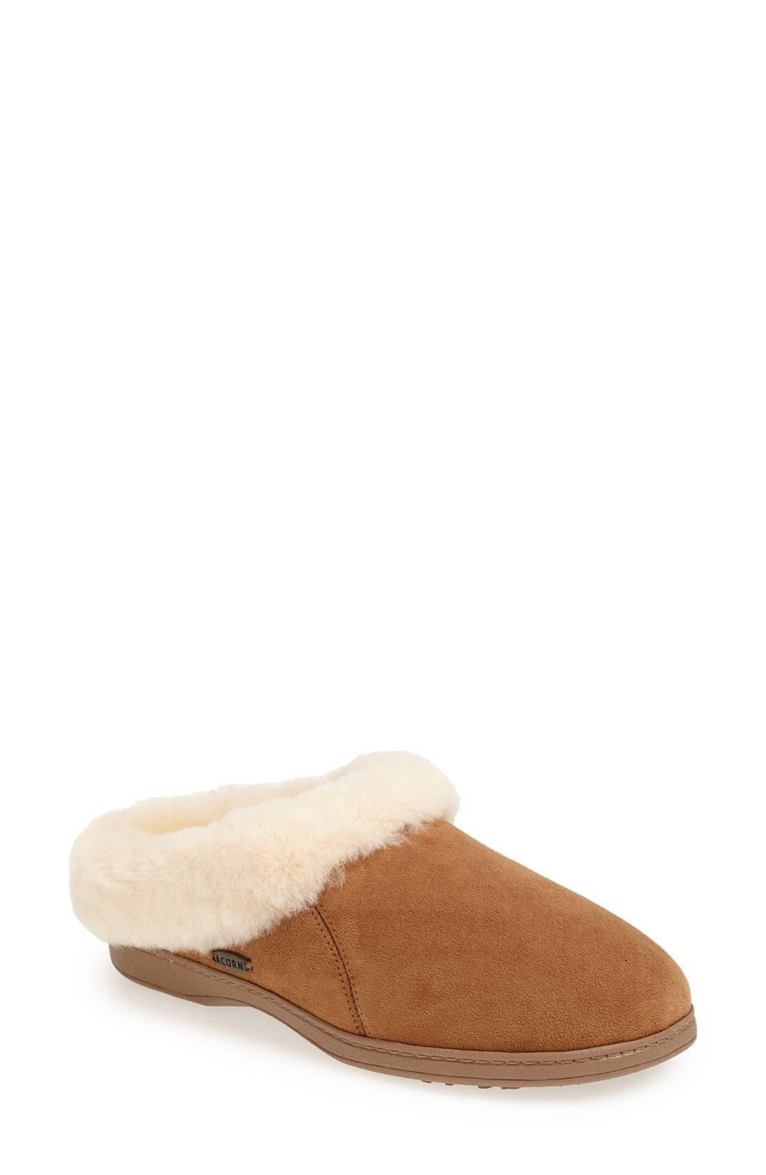 'Ewe Collar' Genuine Sheepskin Mule Slipper,                             Main thumbnail 1, color,                             WALNUT