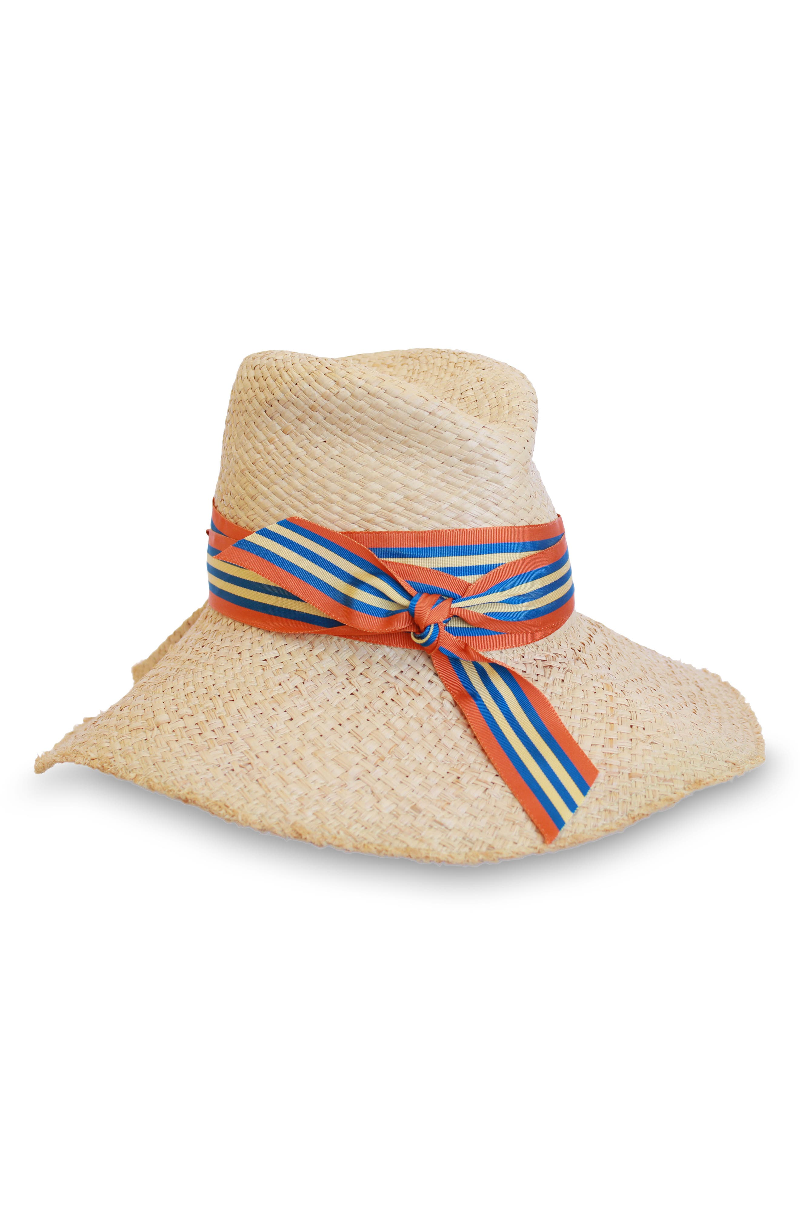 LOLA HATS First Aid Striped Band Straw Hat - Beige in Natural/ Cabana