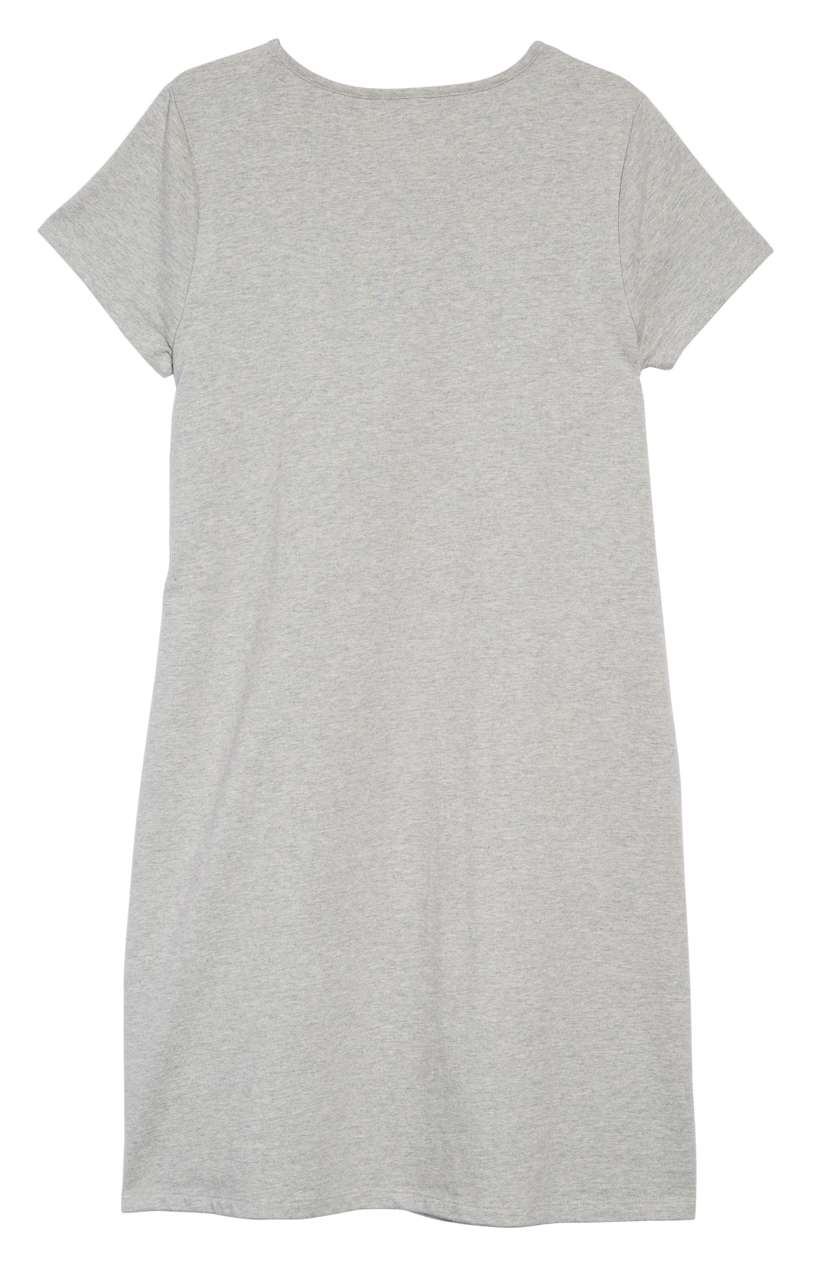 Shimmer Flip Sequin Star T-Shirt Dress,                             Alternate thumbnail 2, color,                             GRY GREY MARL/ RAINBOW SEQUINS