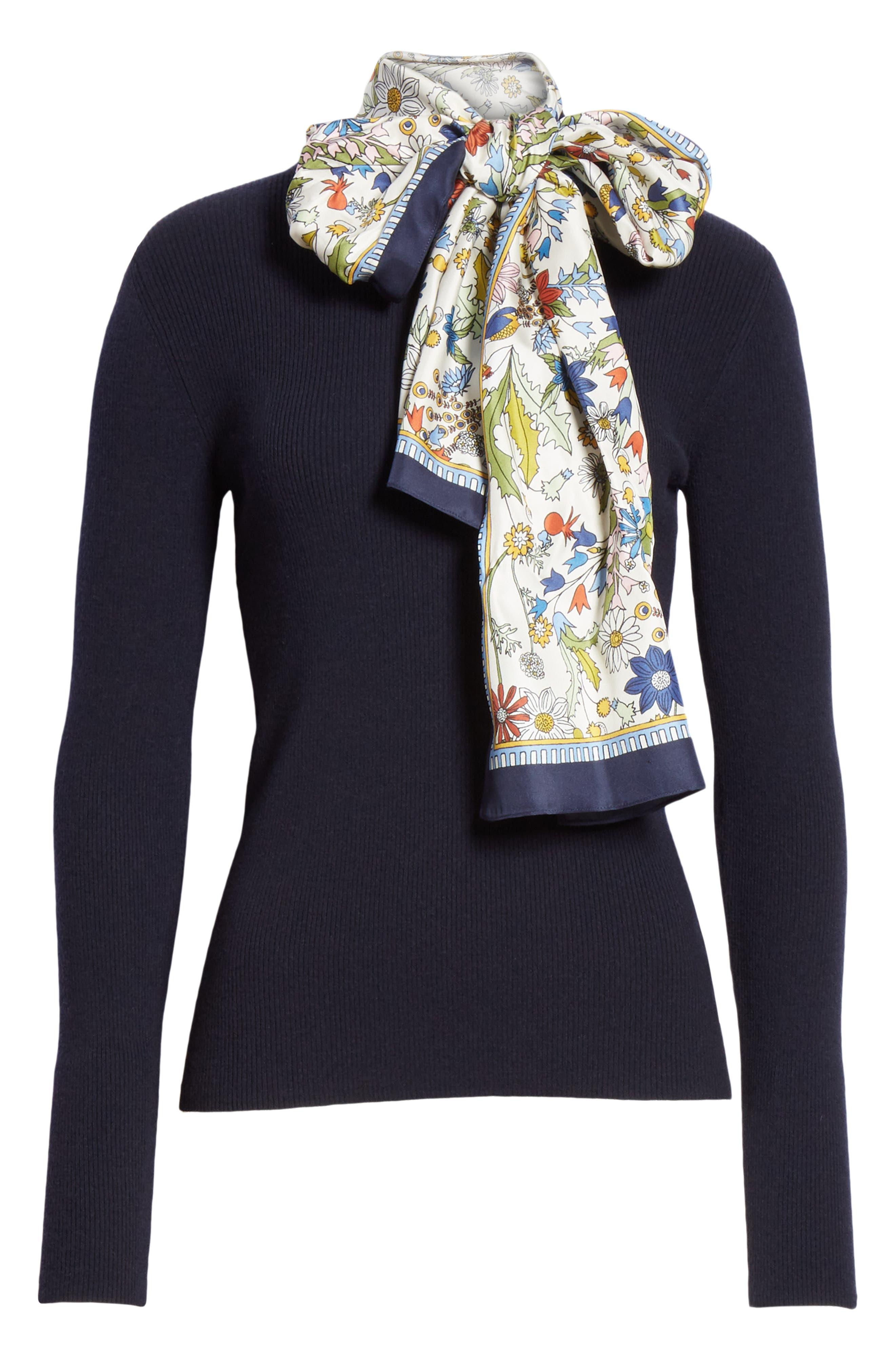 Laura Rib Knit Sweater & Silk Scarf,                             Alternate thumbnail 7, color,                             405