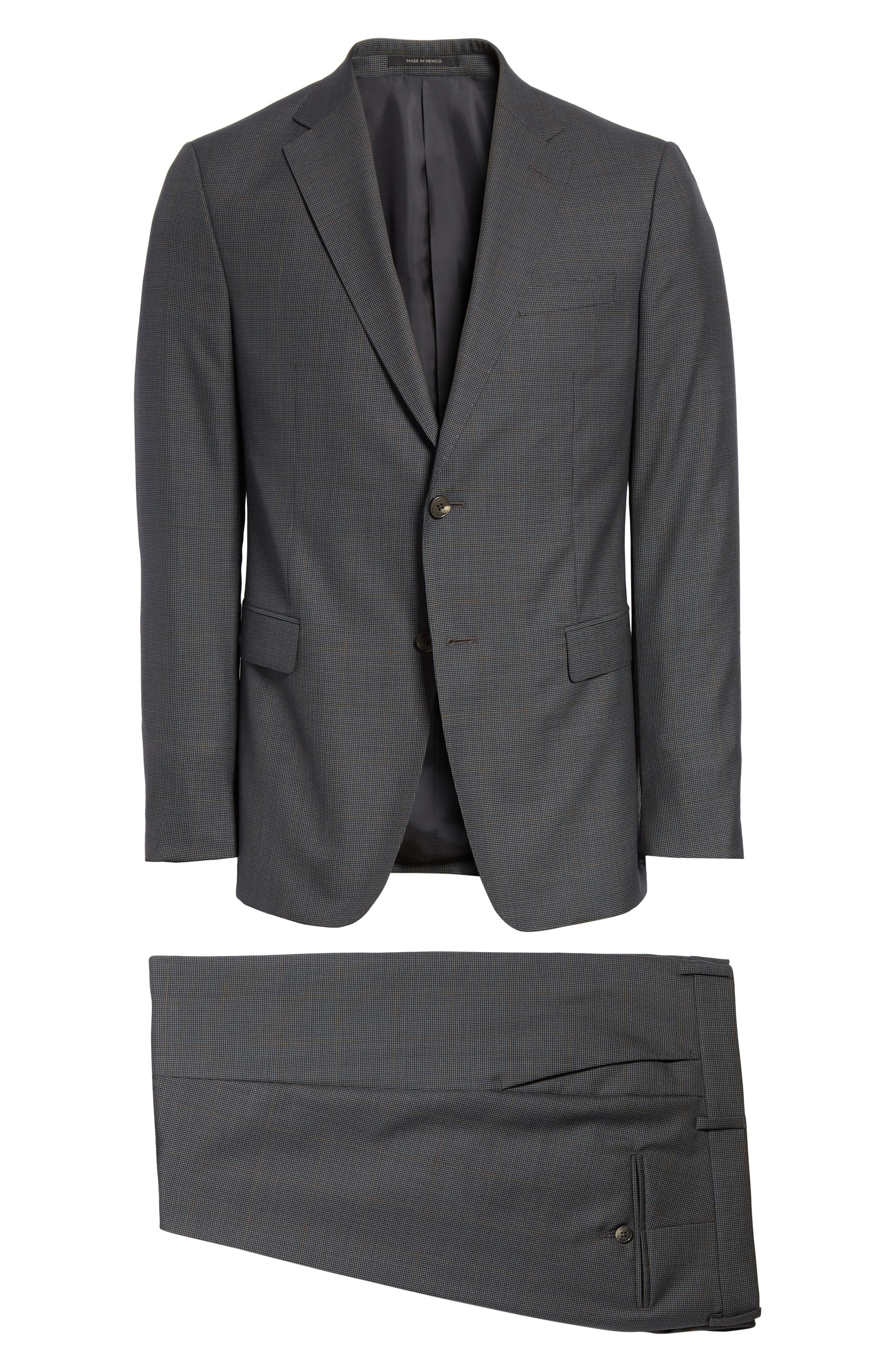 Trim Fit Houndstooth Wool & Silk Suit,                             Alternate thumbnail 7, color,                             026