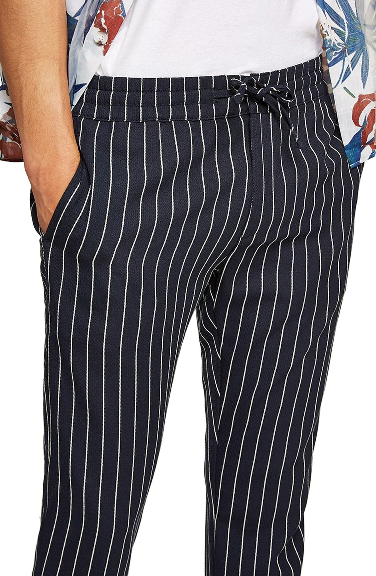 Pinstripe Woven Jogger Pants,                             Alternate thumbnail 3, color,                             400