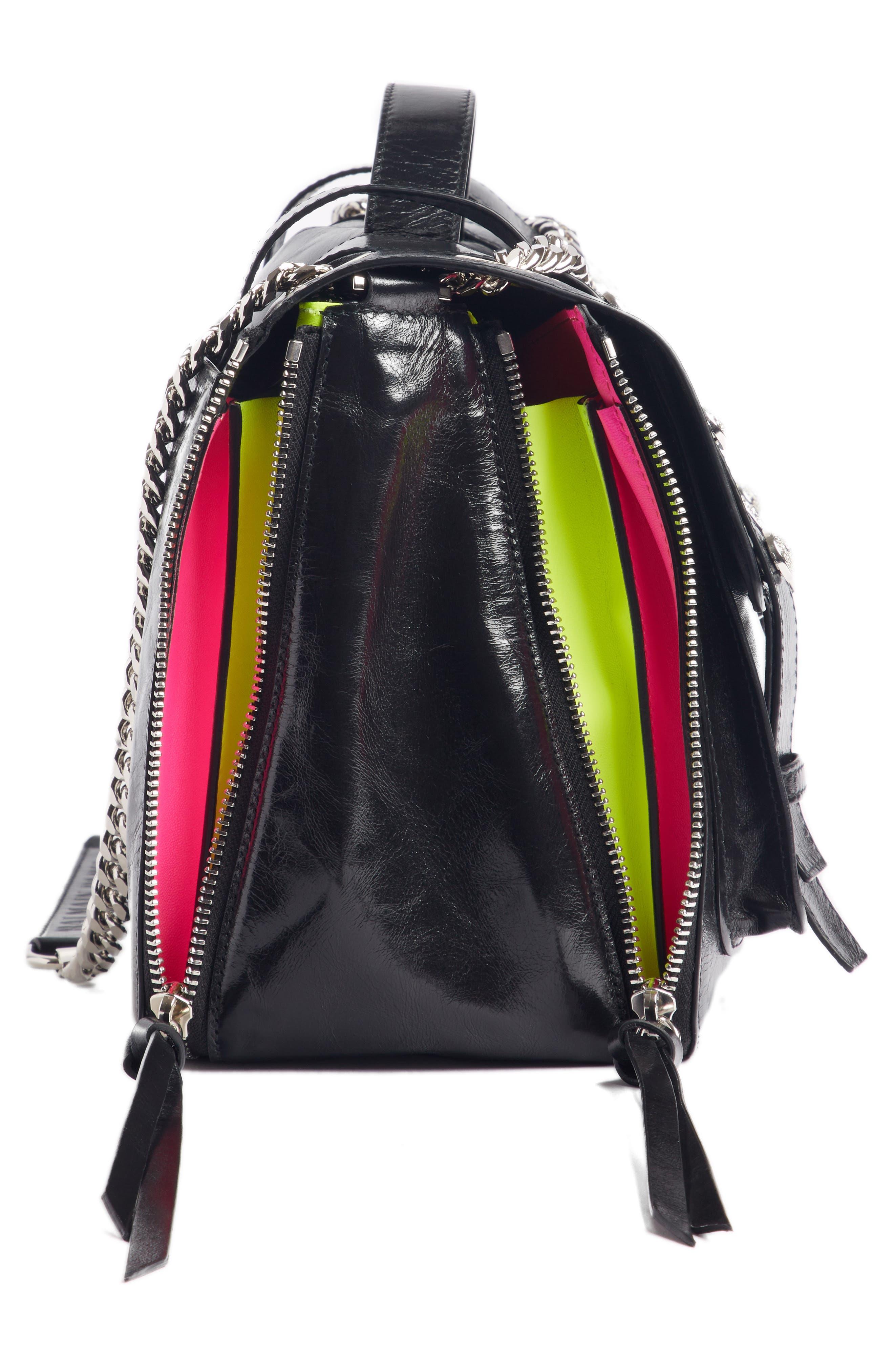 Studded Calfskin Leather Shoulder Bag,                             Alternate thumbnail 4, color,                             001