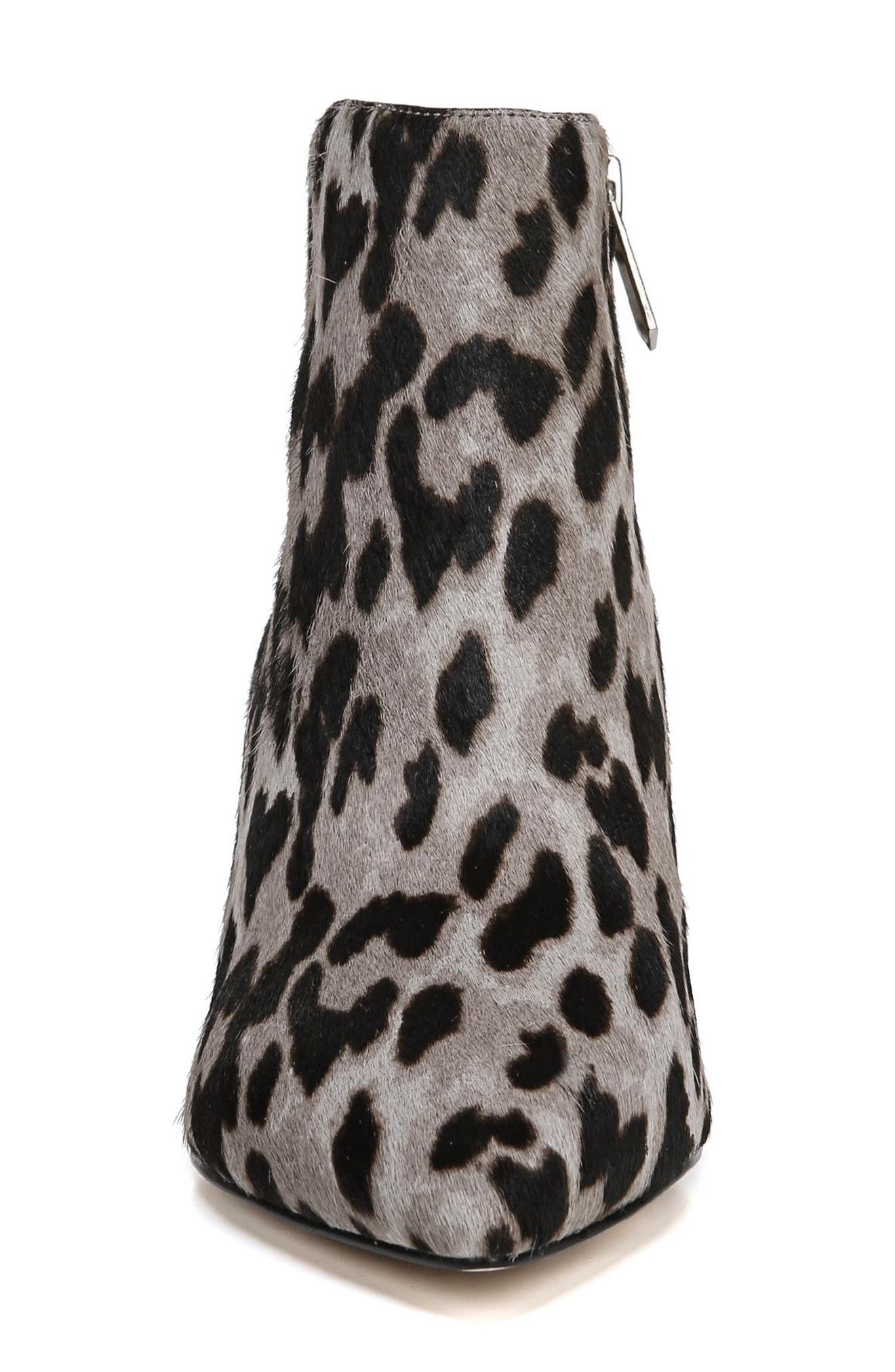 Kinzey Genuine Calf Hair Pointy Toe Bootie,                             Alternate thumbnail 4, color,                             GREY LEOPARD BRAHMA HAIR