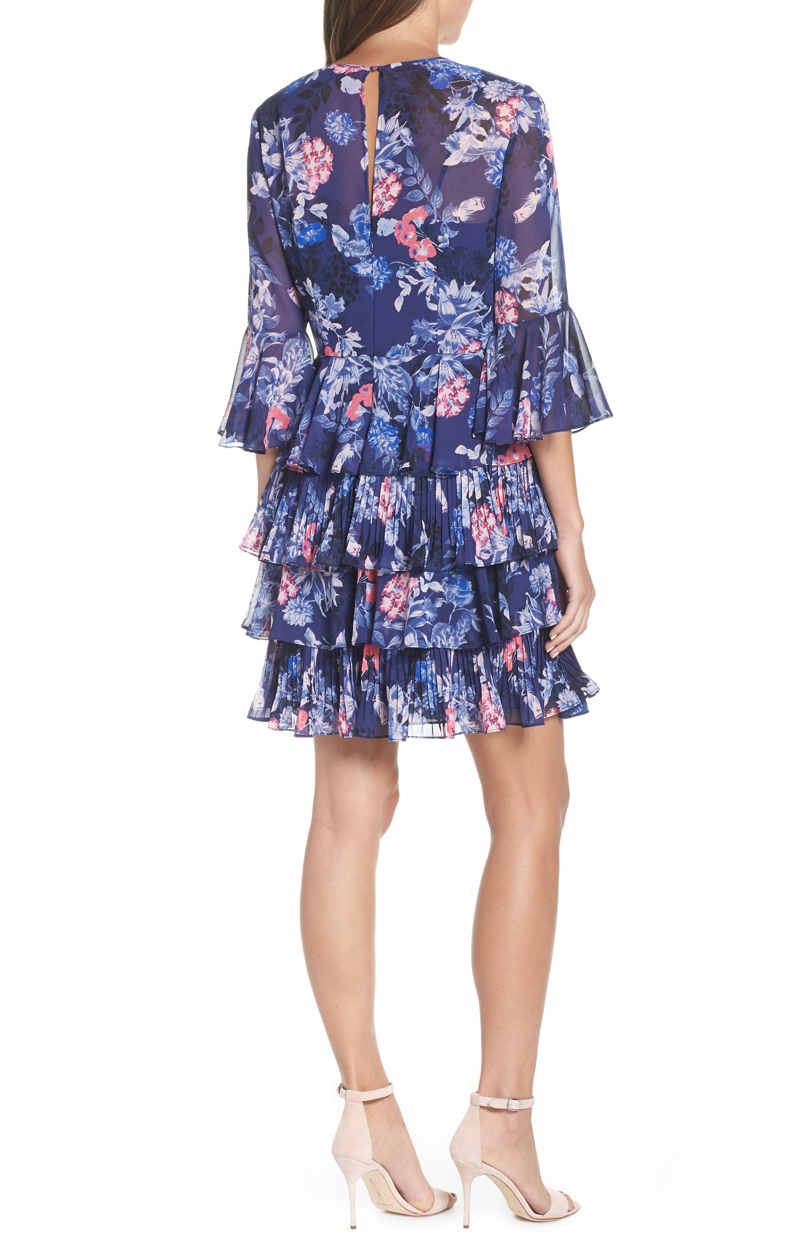 Bell Sleeve Tiered Minidress,                             Alternate thumbnail 2, color,                             NAVY