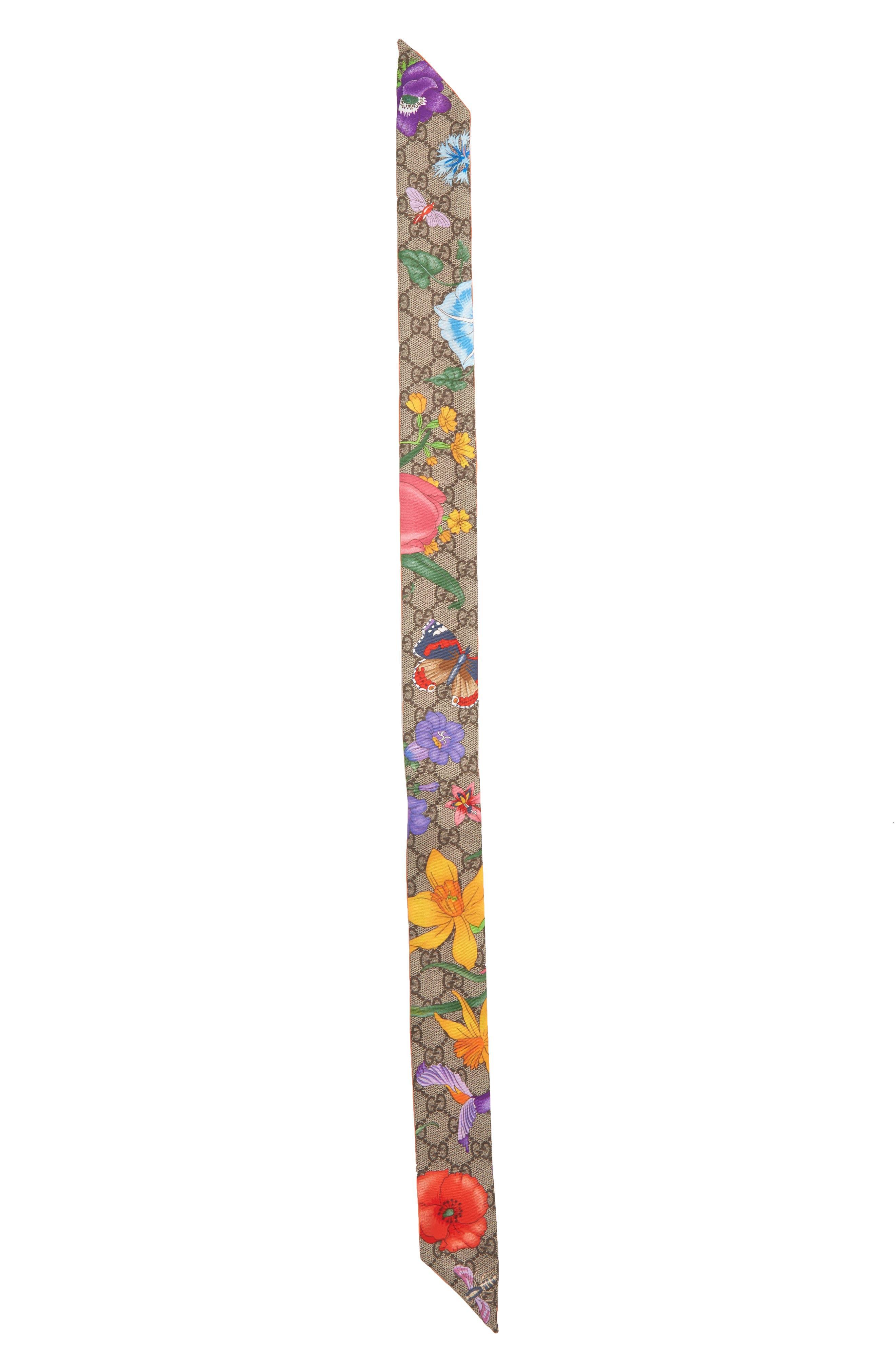 Flora Fluorescent Silk Neck Bow,                             Main thumbnail 1, color,                             ORANGE