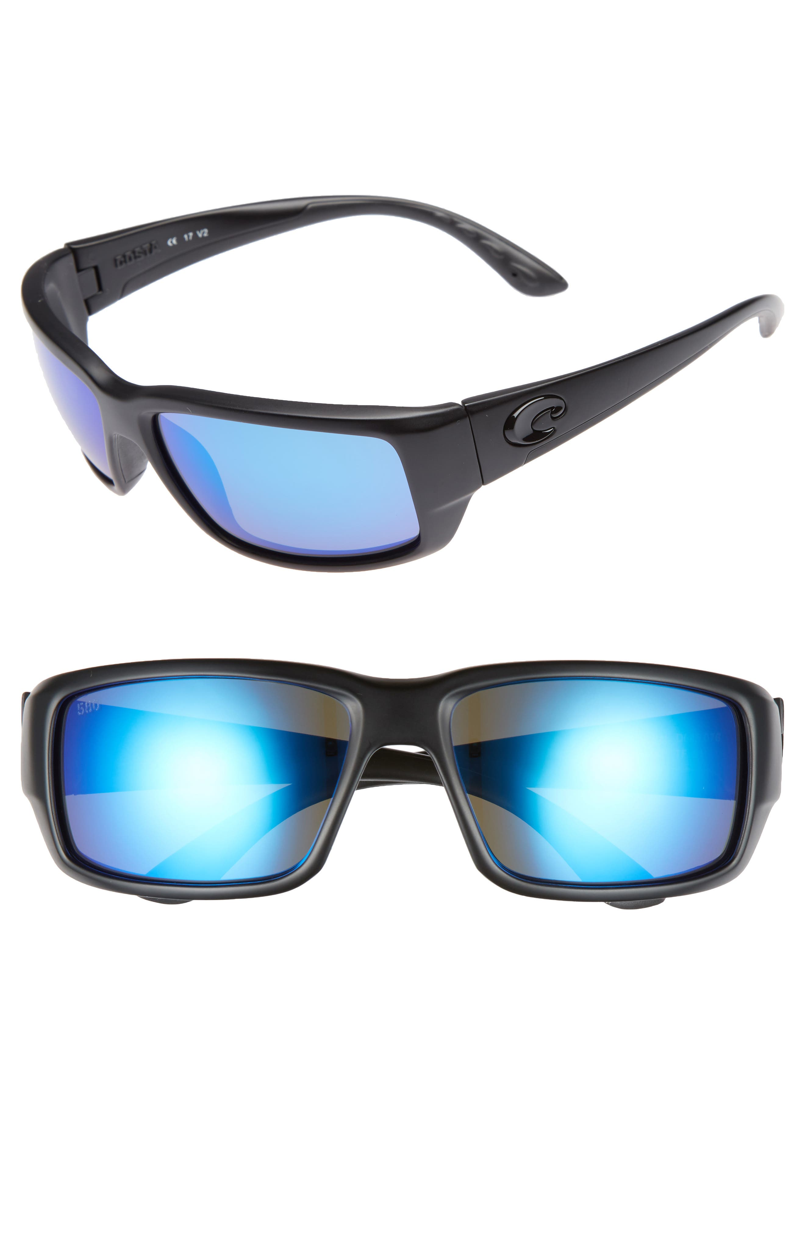Fantail 60mm Polarized Sunglasses,                             Main thumbnail 1, color,                             BLACKOUT/ BLUE MIRROR