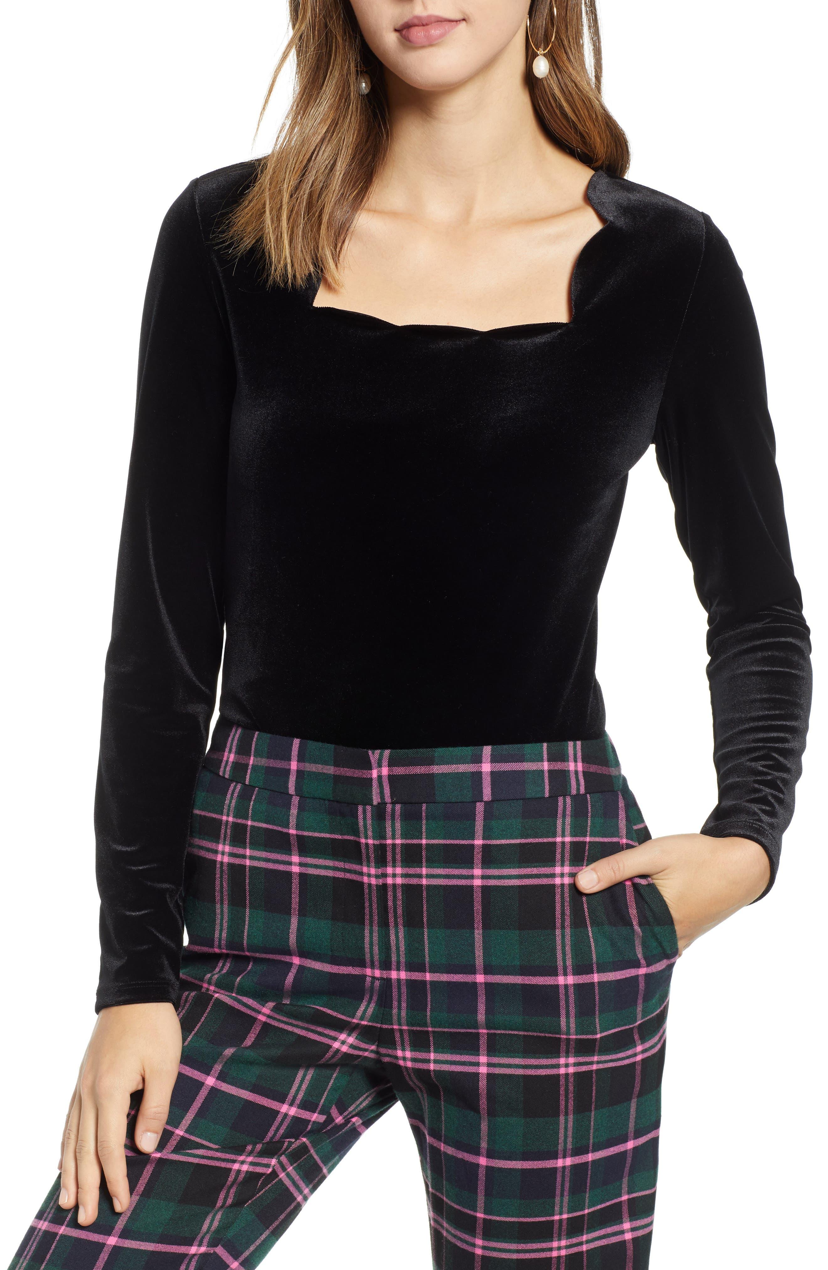Scallop Edge Velvet Top,                         Main,                         color, BLACK