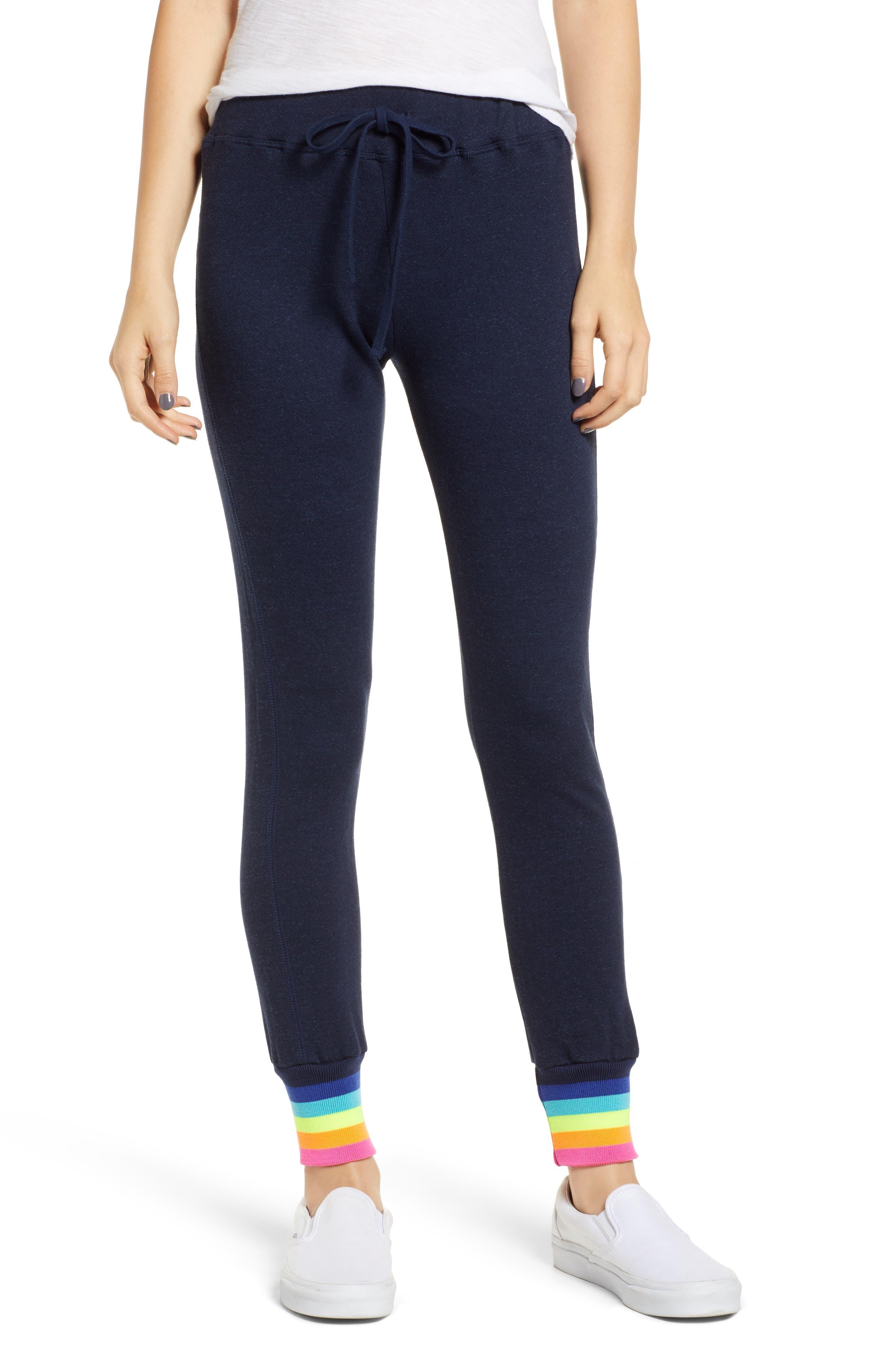 Midnight Stripe Cuff Cotton Blend Sweatpants,                             Main thumbnail 1, color,                             MIDNIGHT