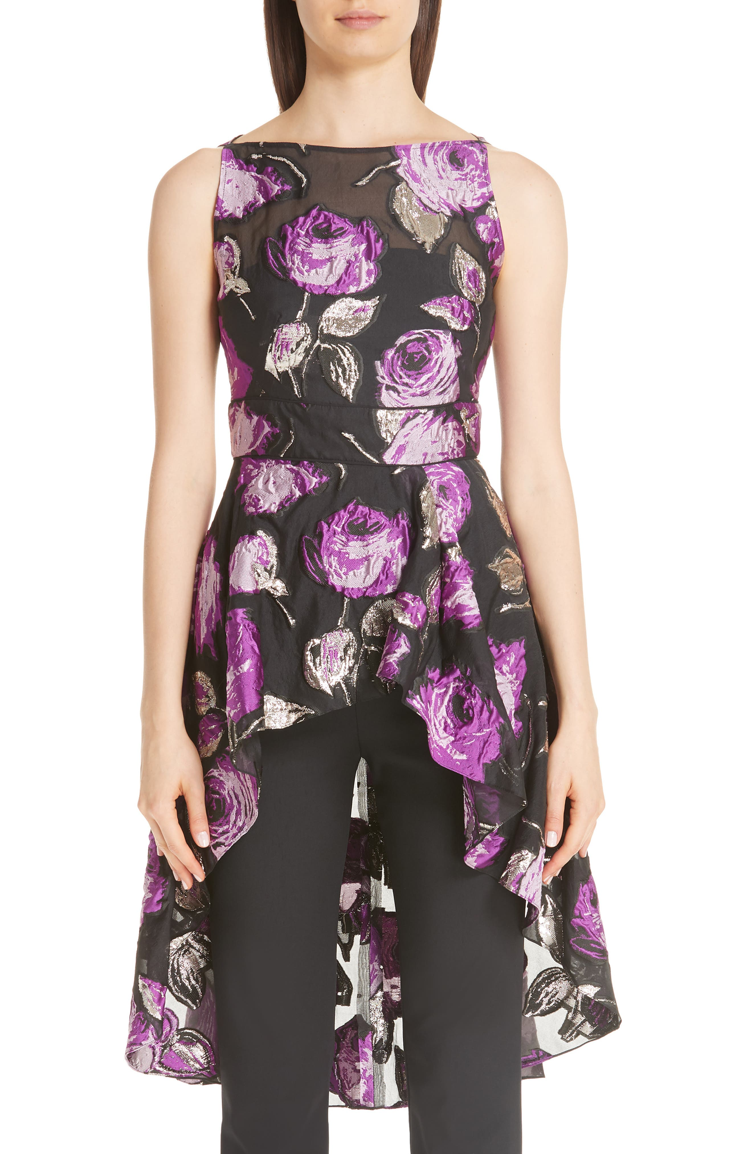 LELA ROSE Metallic Floral Fil Coupe High/Low Peplum Blouse in Lavender/ Black