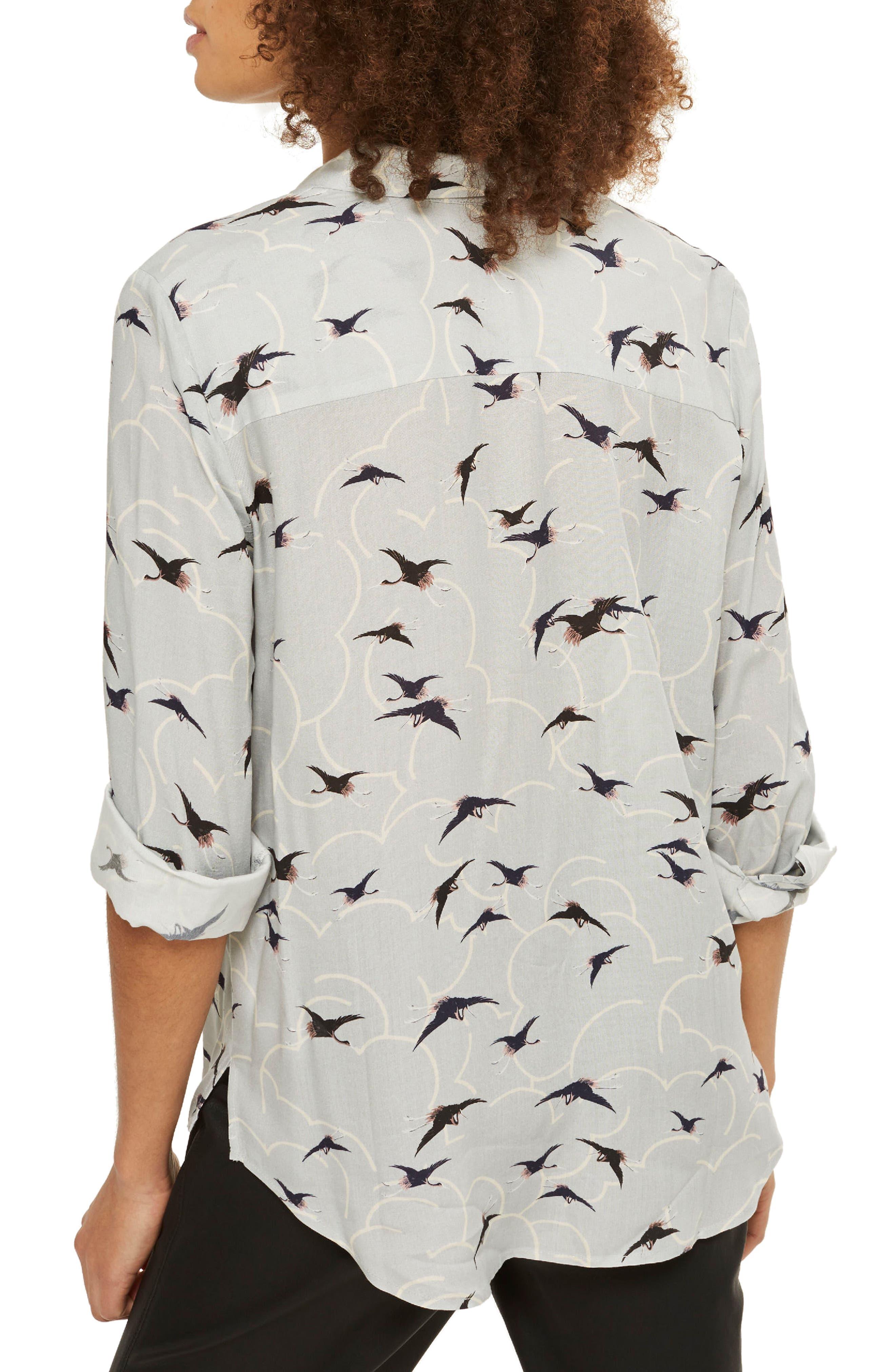 Birds & Clouds Button Down Shirt,                             Alternate thumbnail 2, color,