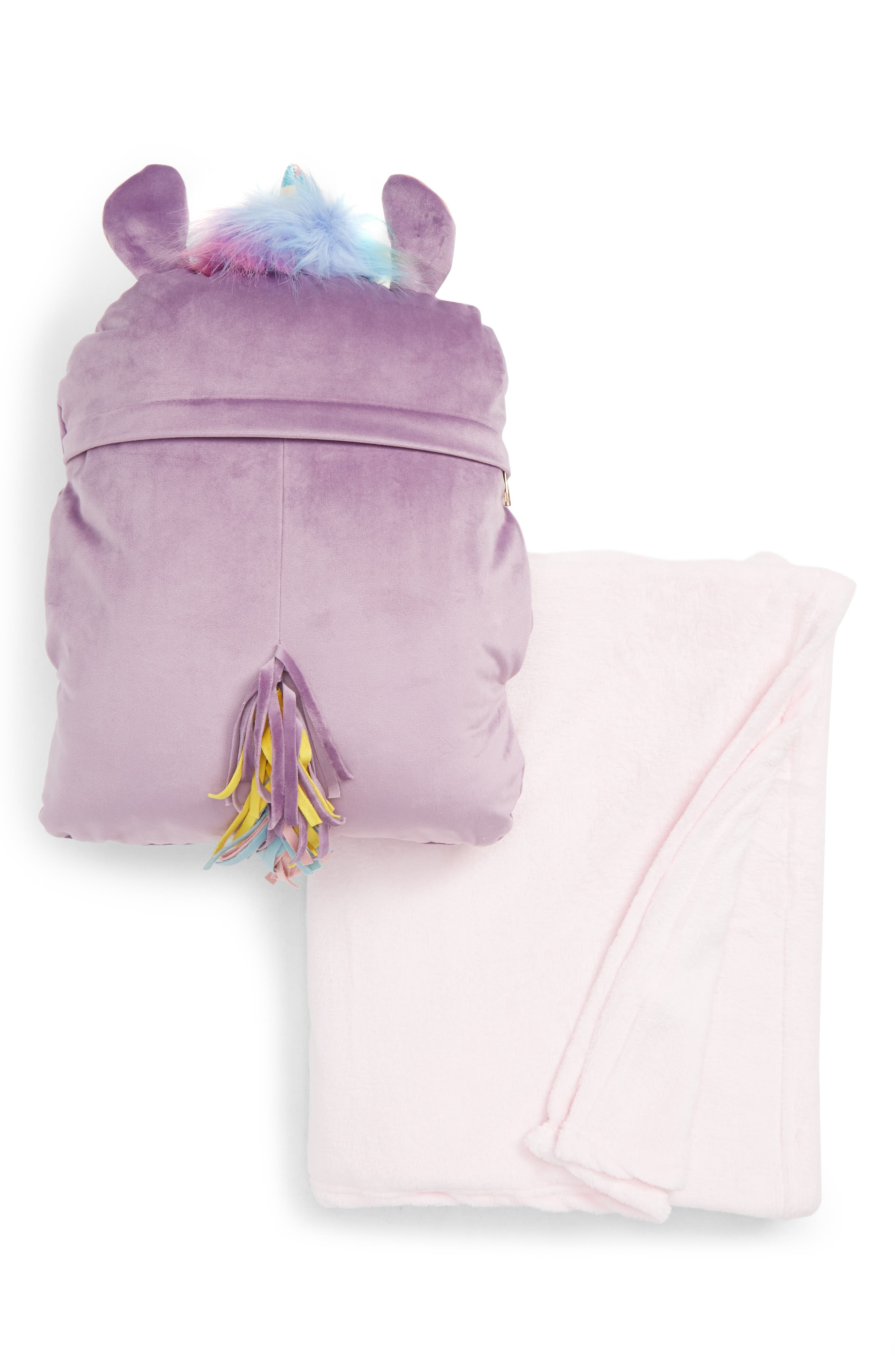 UNDER ONE SKY,                             Critter Pillow & Throw Set,                             Alternate thumbnail 2, color,                             LAVENDER UNICORN