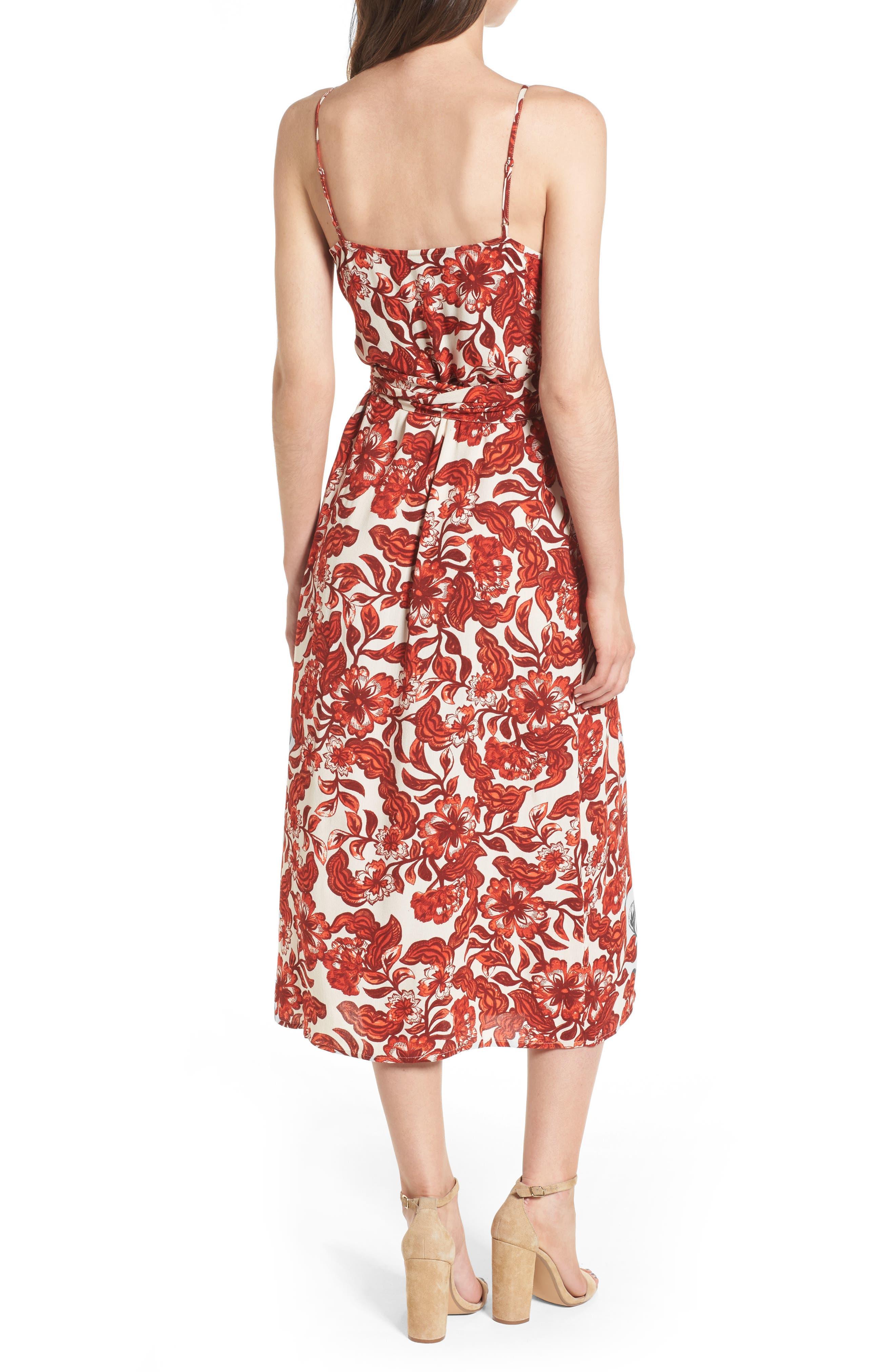 Midi Wrap Dress,                             Alternate thumbnail 2, color,                             RED LAVA SNAP FLORAL