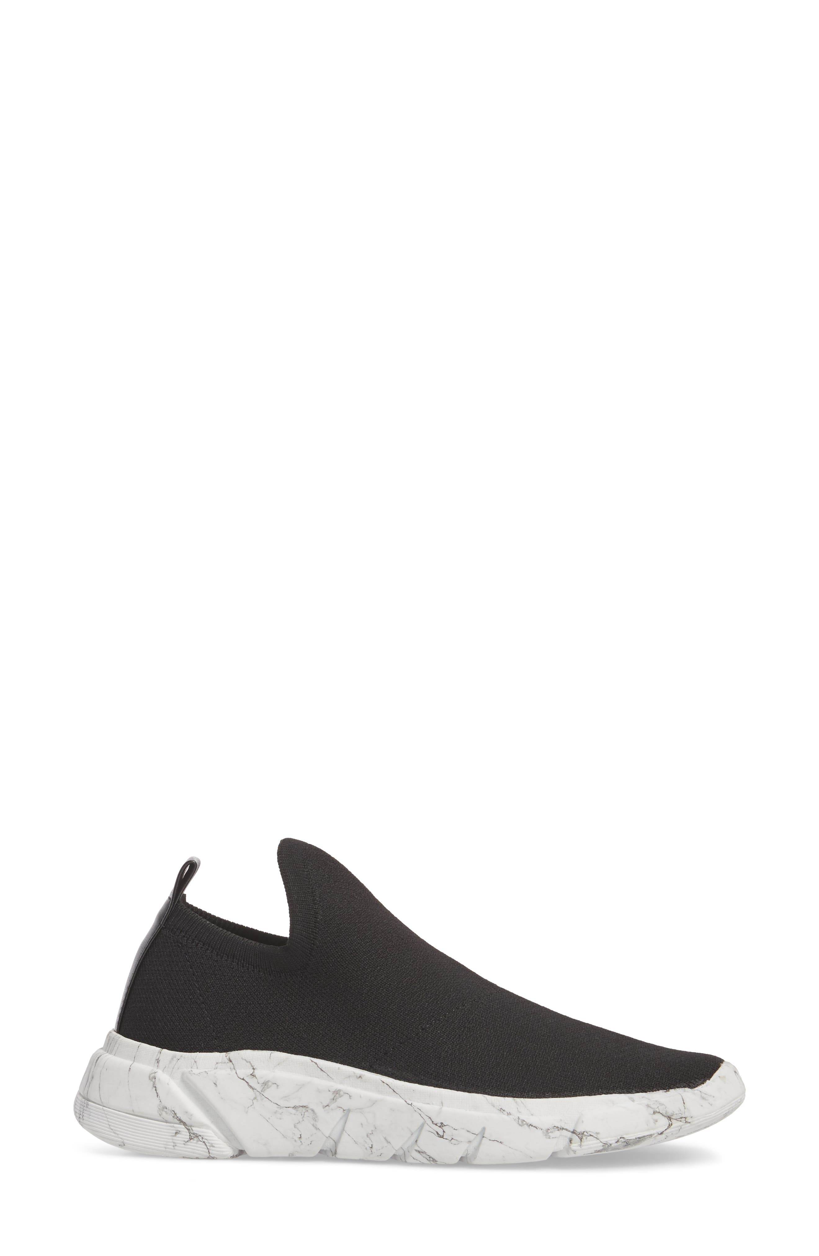 Caleb Knit Sneaker,                             Alternate thumbnail 3, color,                             BLACK