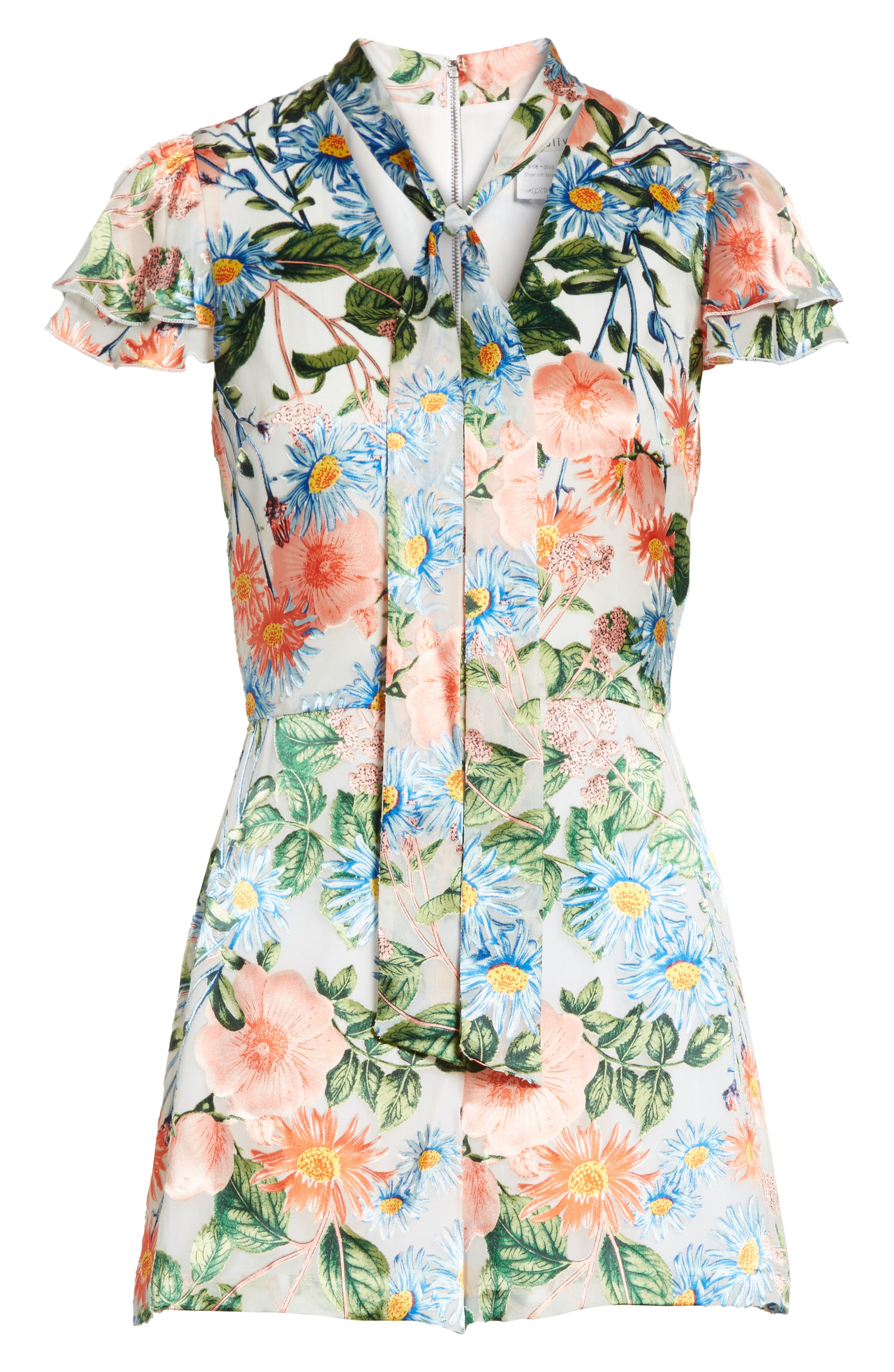 Macall Floral Ruffle Sleeve Romper,                             Alternate thumbnail 6, color,                             400